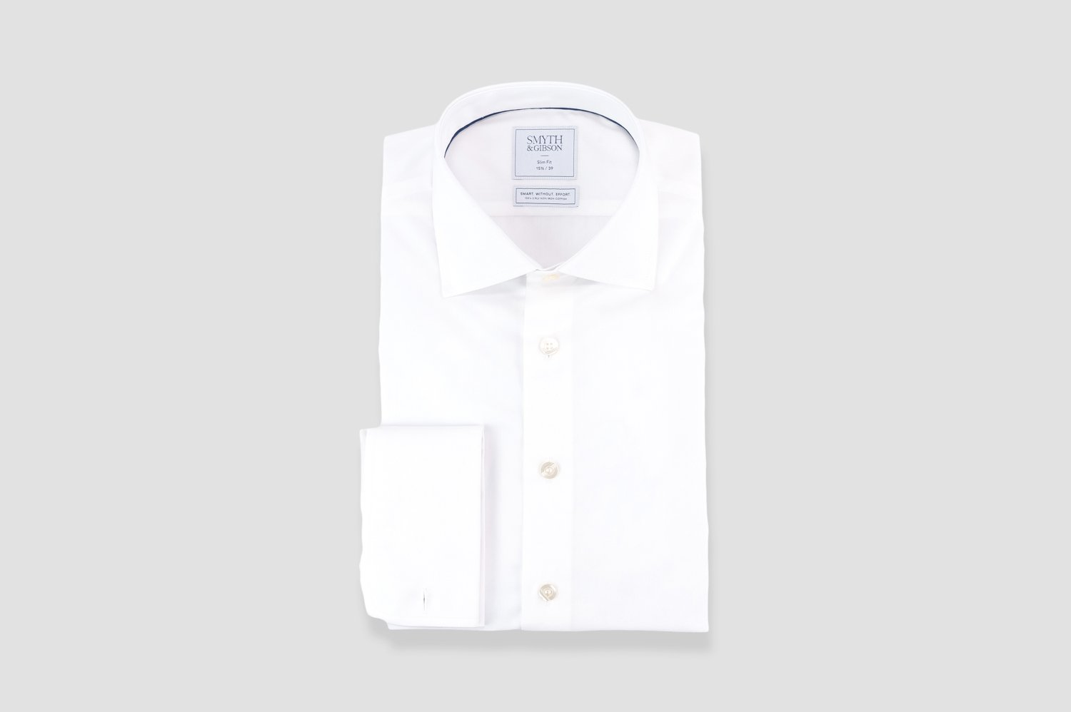 Smyth & Gibson Non-Iron Poplin Slim Fit Double Cuff Shirt in White