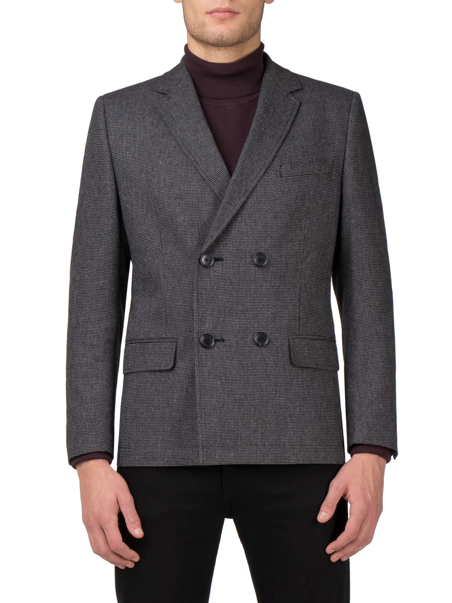 Ben Sherman Black Micro Check Double Breasted Jacket Kings Fit (Tailored Fit)