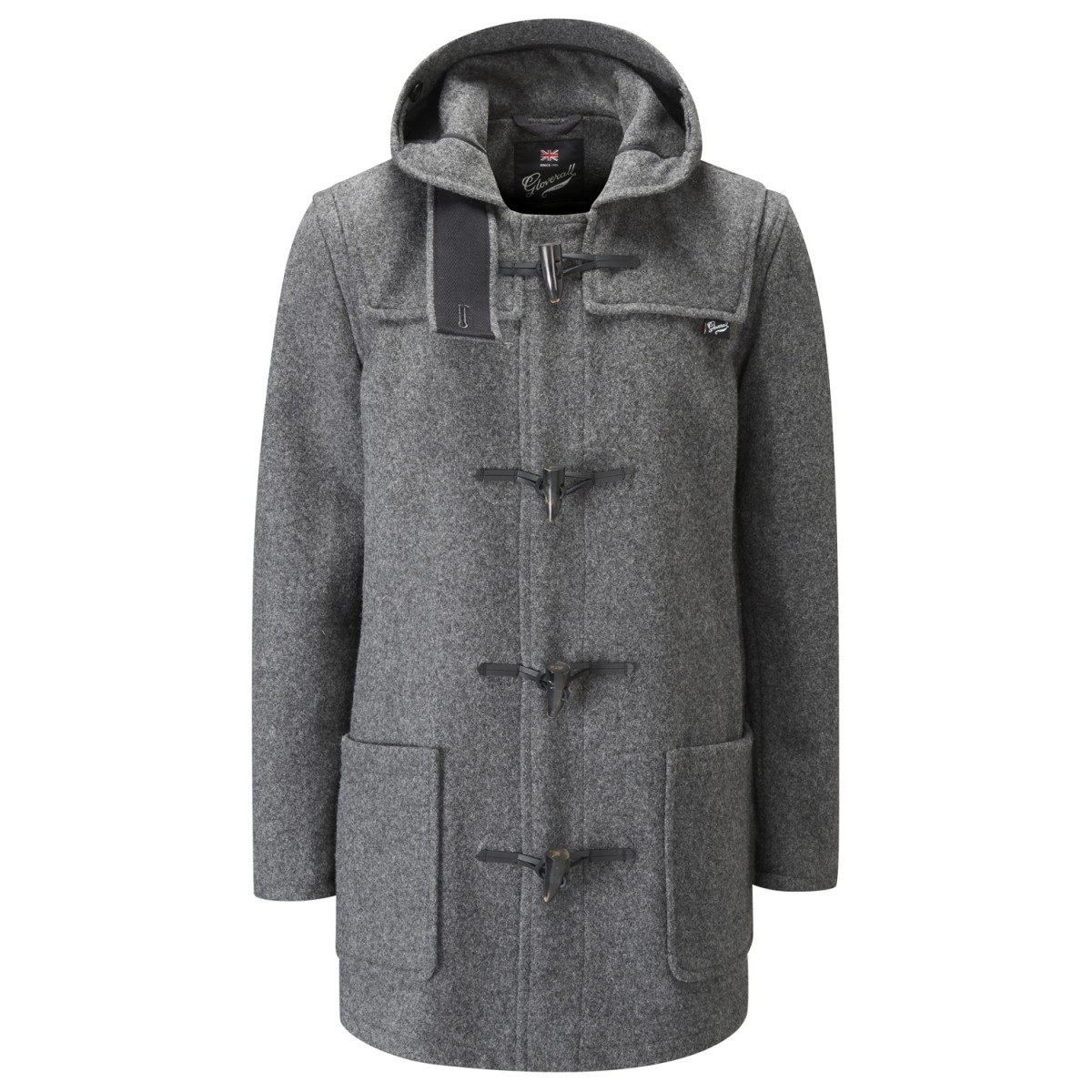 Gloverall Grey Men's Mid Length Duffle
