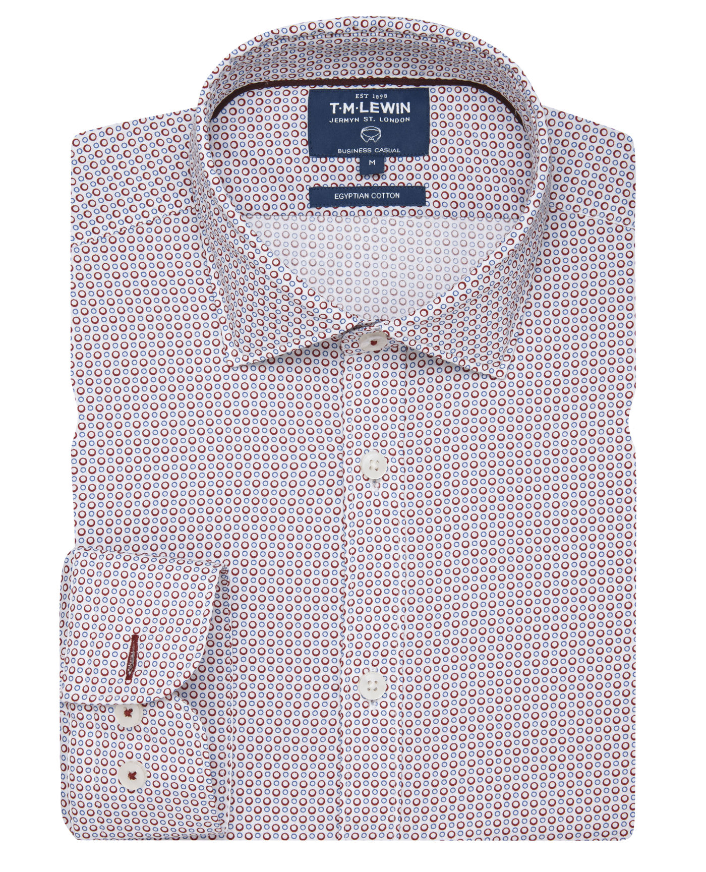 T.M.Lewin Casual Slim Fit Red Blue Circle Print Egyptian Cotton Soft Collar Shirt