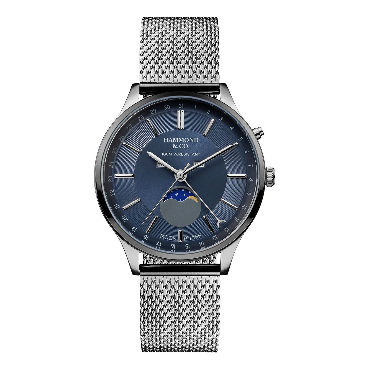 Hammond & Co. by Patrick Grant Silver gents mesh moonphase dial watch