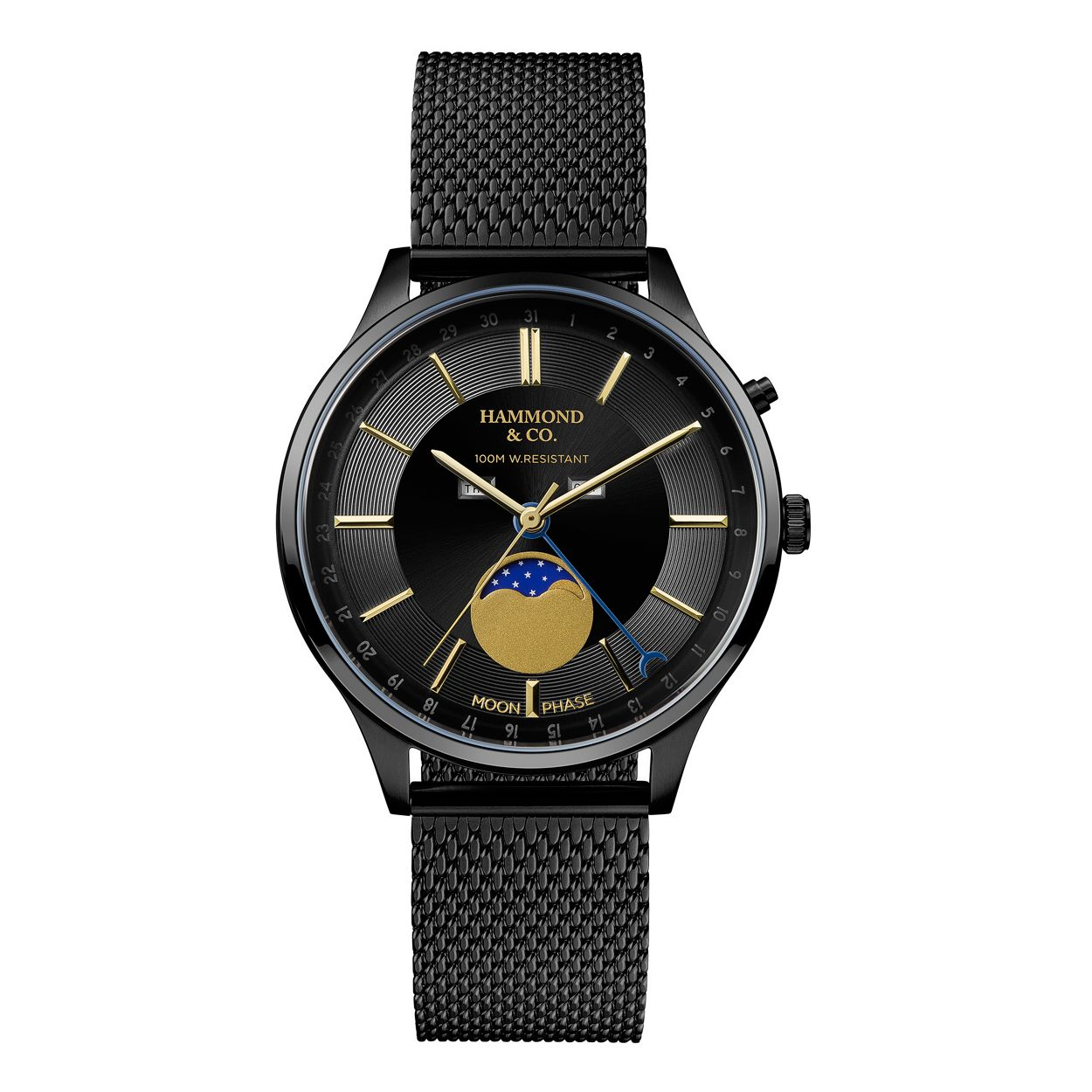 Hammond & Co. by Patrick Grant Black gents mesh moonphase dial watch