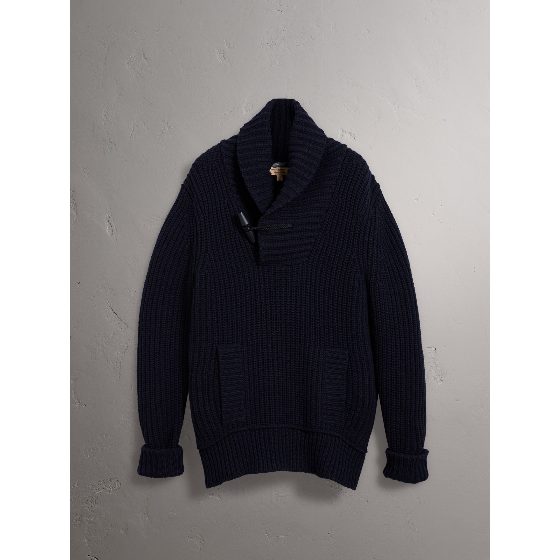 Burberry Navy Shawl Collar Wool Cashmere Sweater