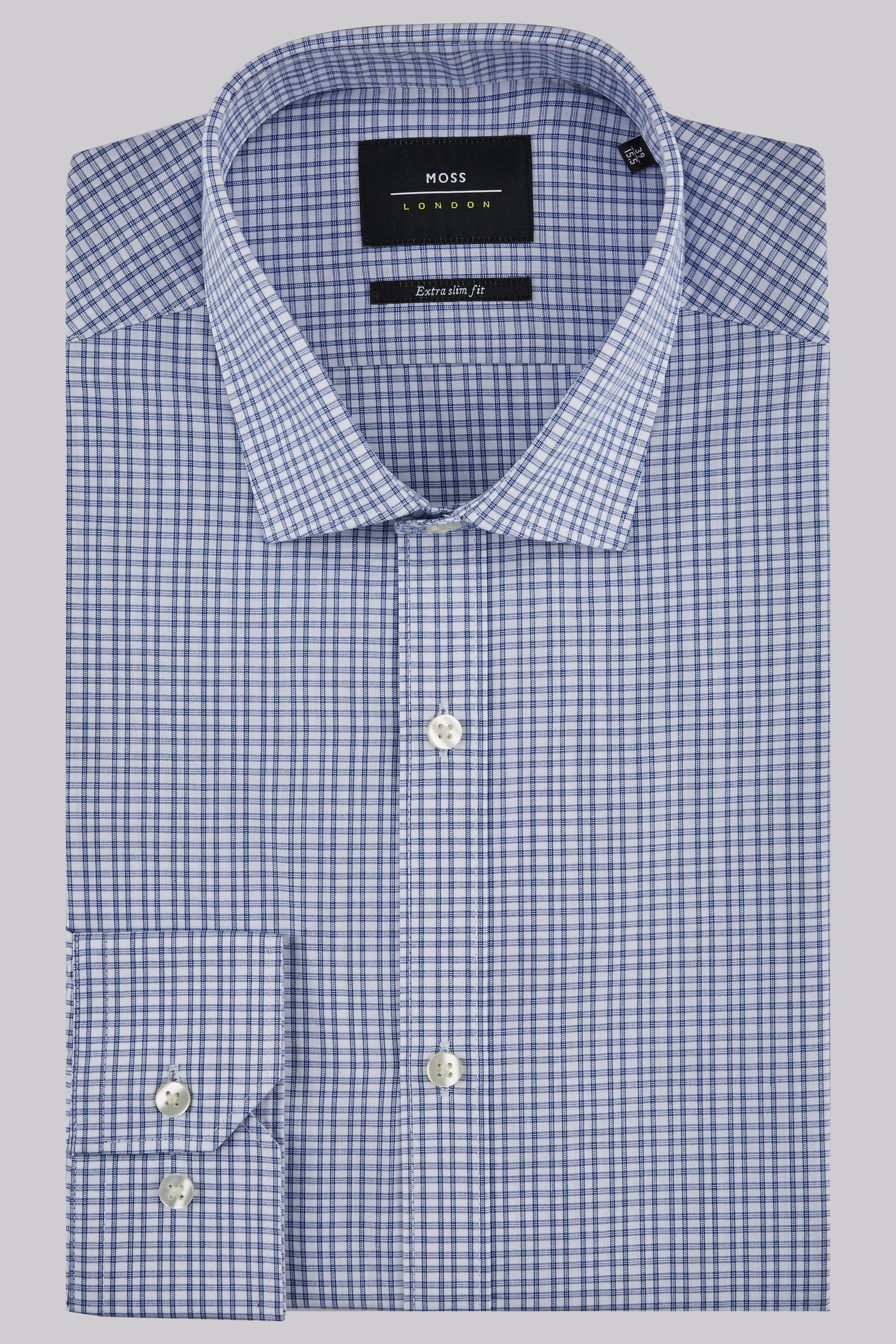 Moss Bros Moss London Extra Slim Fit Blue Single Cuff Check Shirt