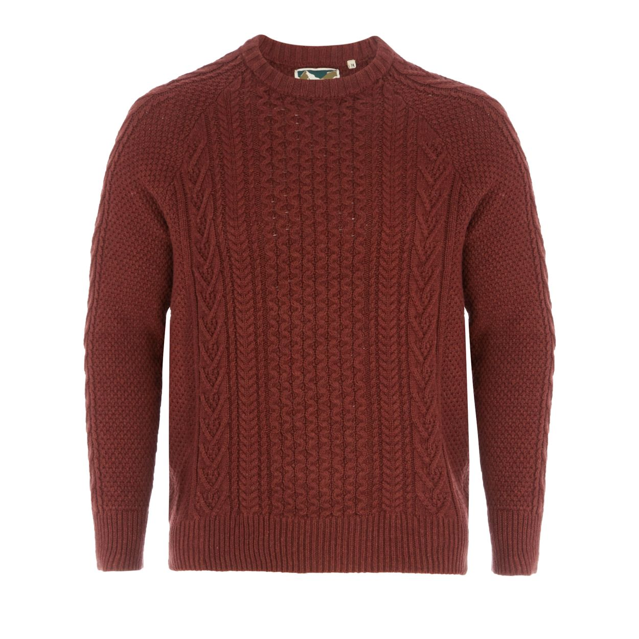 Mantaray Orange cable knit crew neck jumper