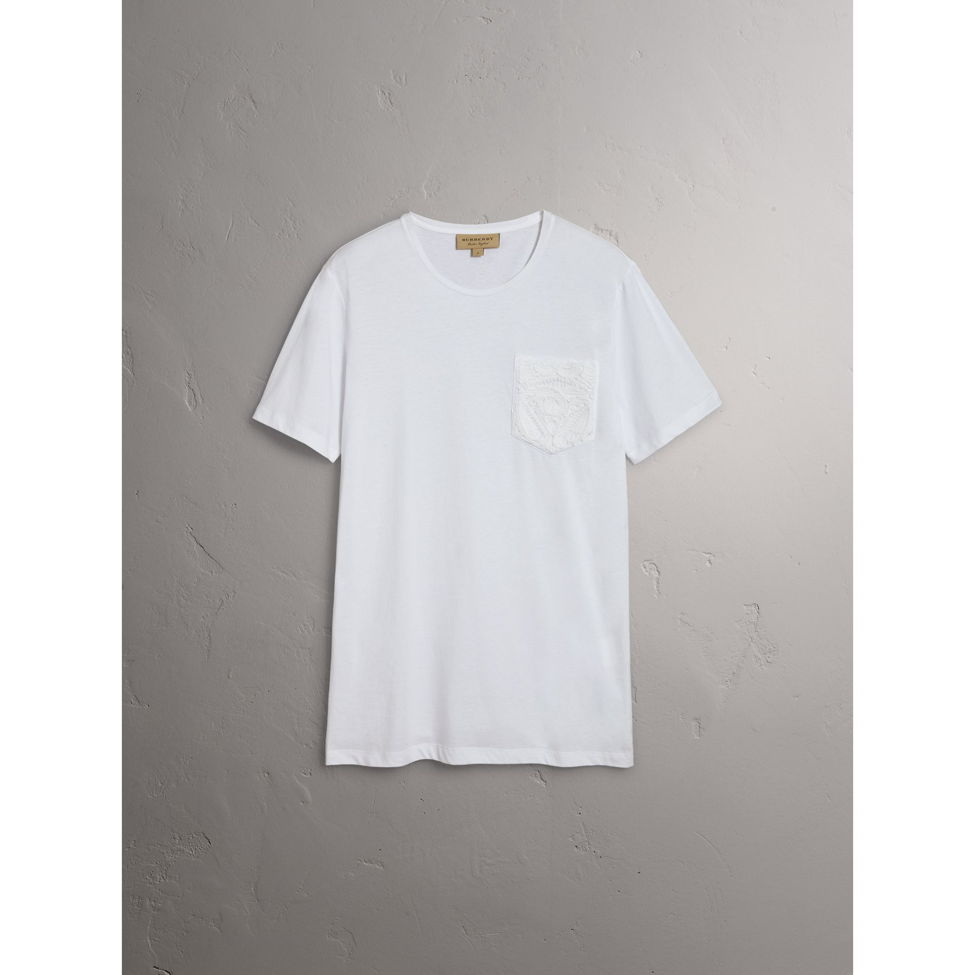 Burberry White Rope Embroidered Pocket Cotton T-shirt