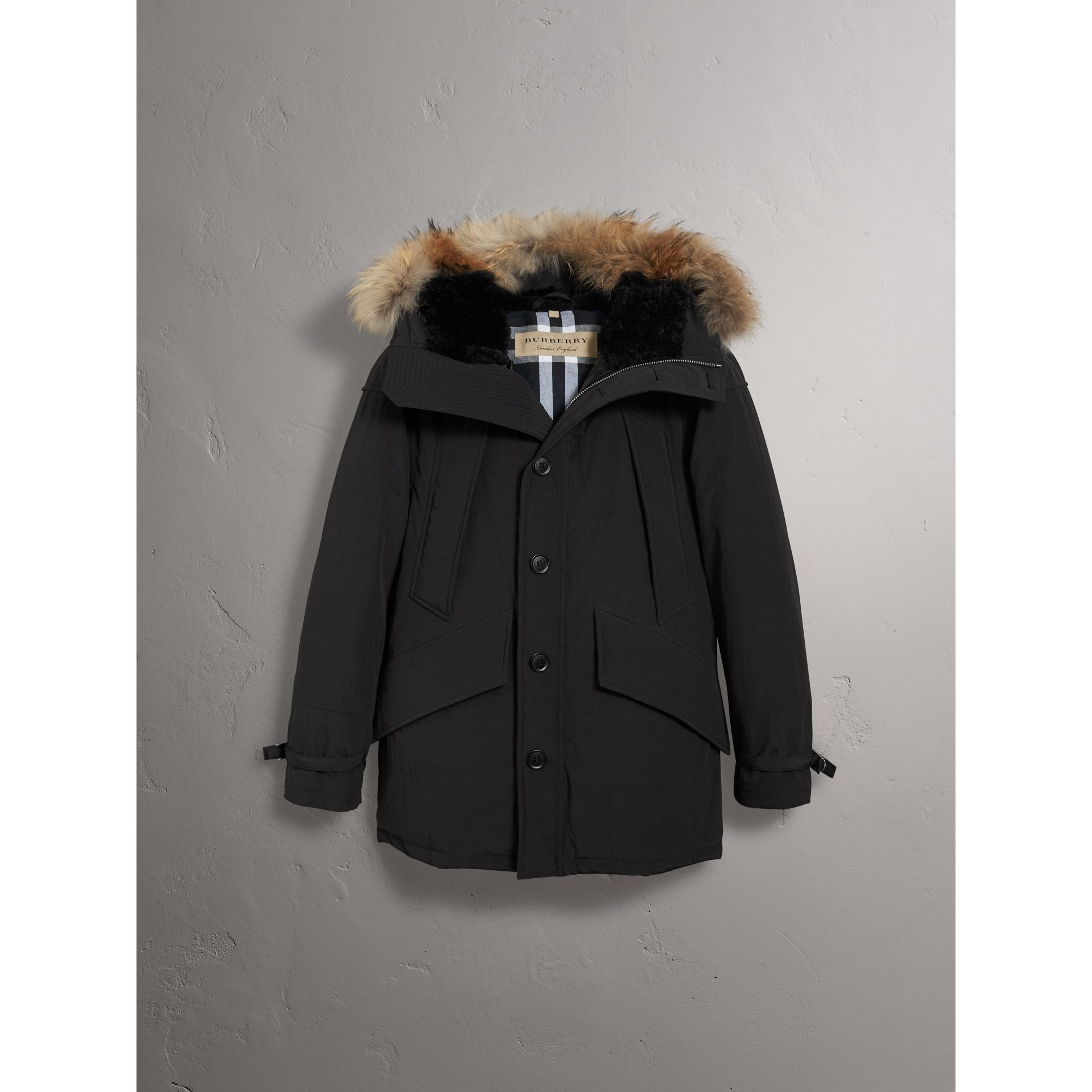 209a857e6 Raccoon Fur Trim Shearling Hood Down-filled Parka by Burberry
