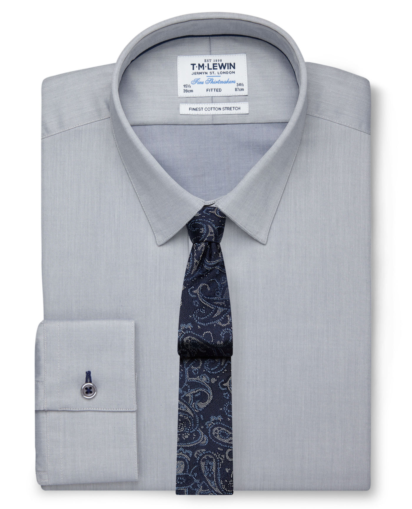 T.M.Lewin Stretch Cotton Fitted Grey Shirt - Button Cuff