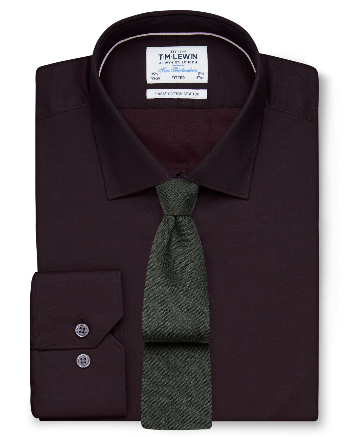 T.M.Lewin Stretch Cotton Fitted Burgundy Shirt - Button Cuff