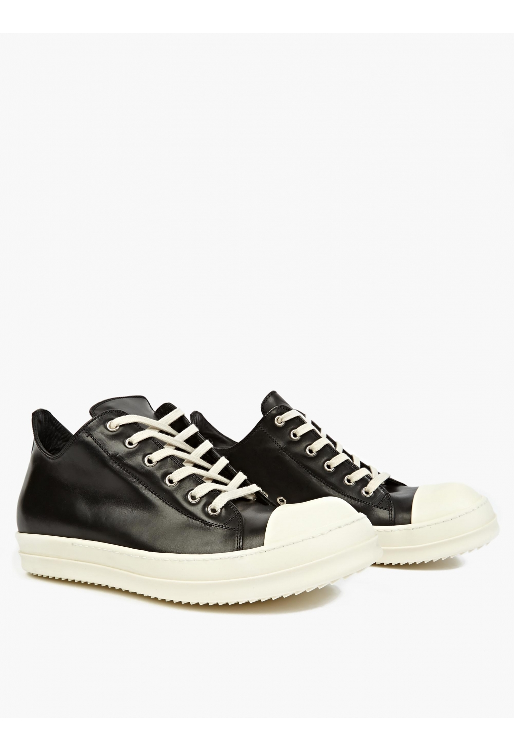Black Leather Low-Top Sneakers by Rick