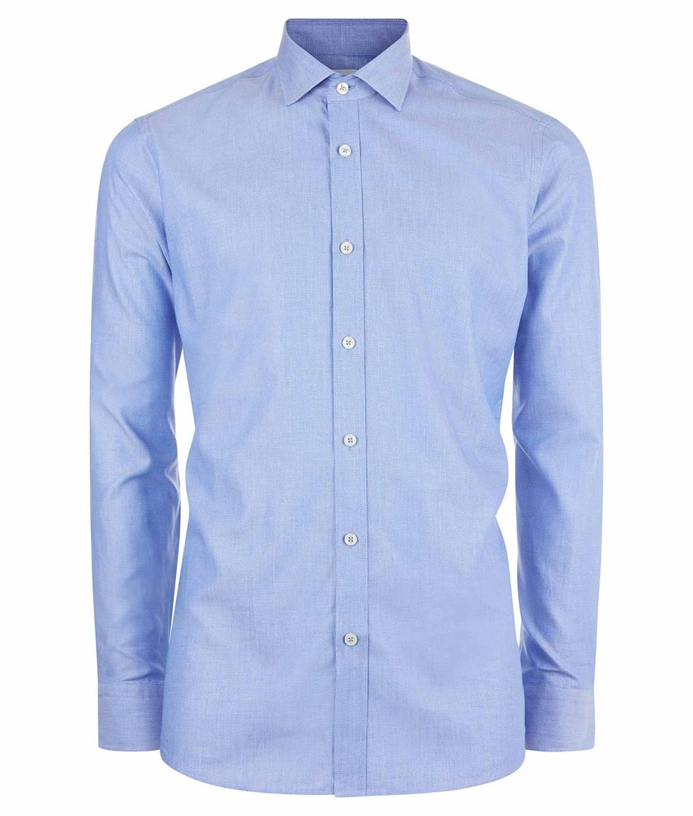 Nigel Hall Blue Navy Stripe Blue And Navy Stripe Regular Fit Classic Style Formal Shirt (Cell)