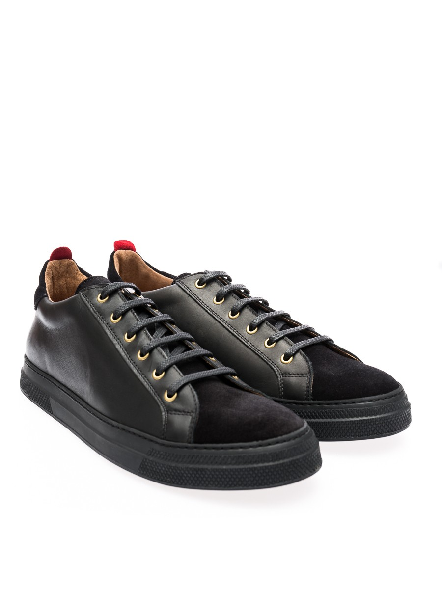 Oliver Spencer OSF49 Ambleside Low Top Black Leather SS16