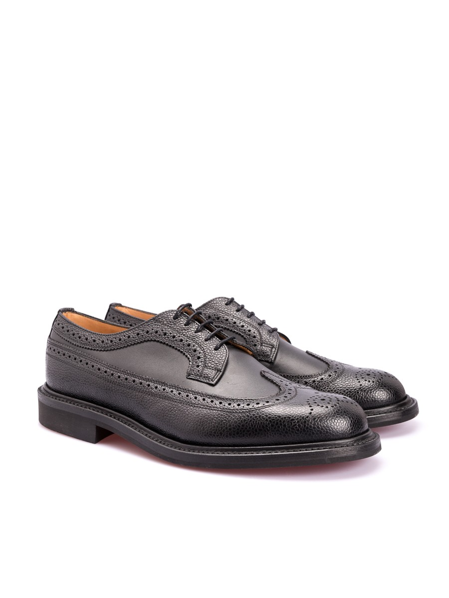 Oliver Spencer OSF52 Long Wing Brogue Black Grain Leather
