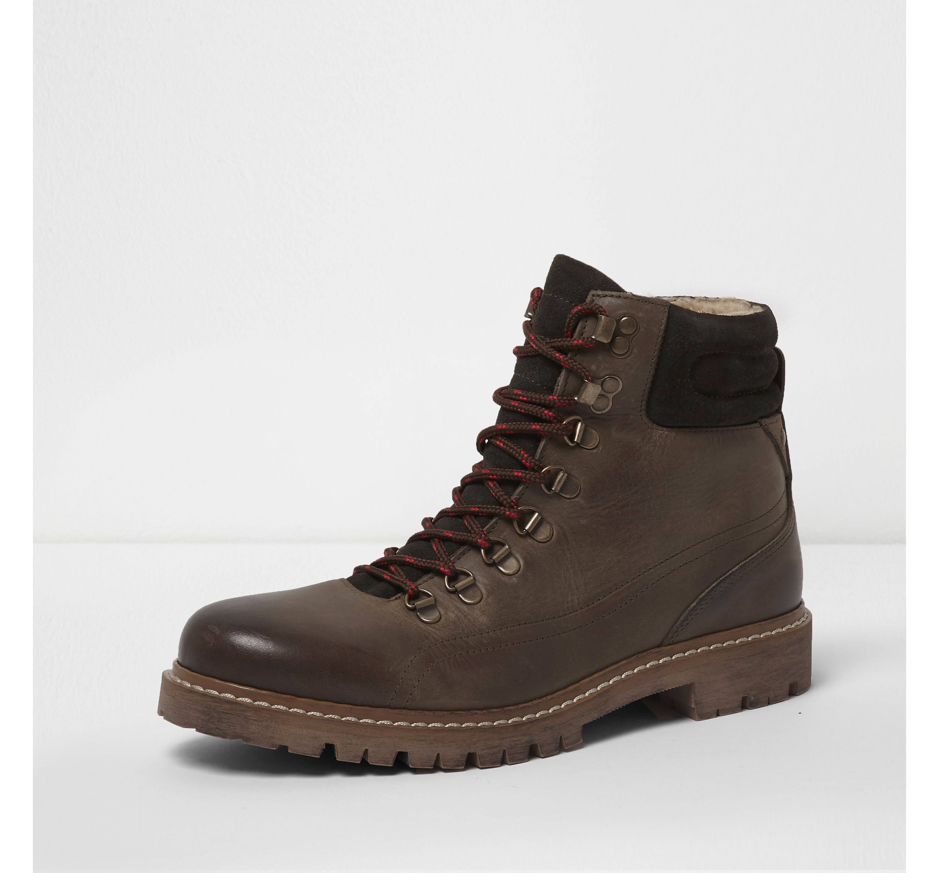 River Island Mens Dark Green borg lined lace-up hiker boots