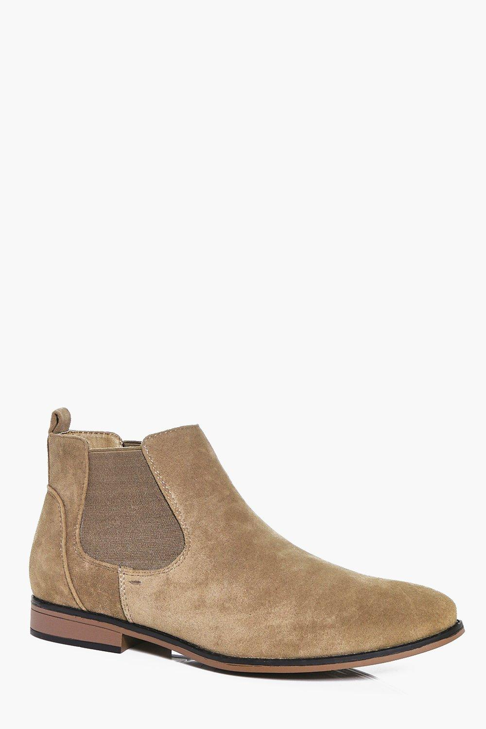 boohooMAN sand Faux Suede Chelsea Boots