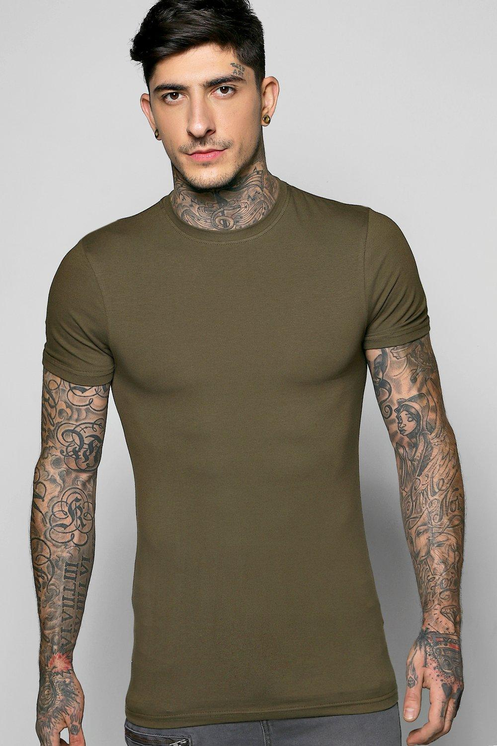 boohooMAN olive Muscle Fit Crew Neck T Shirt