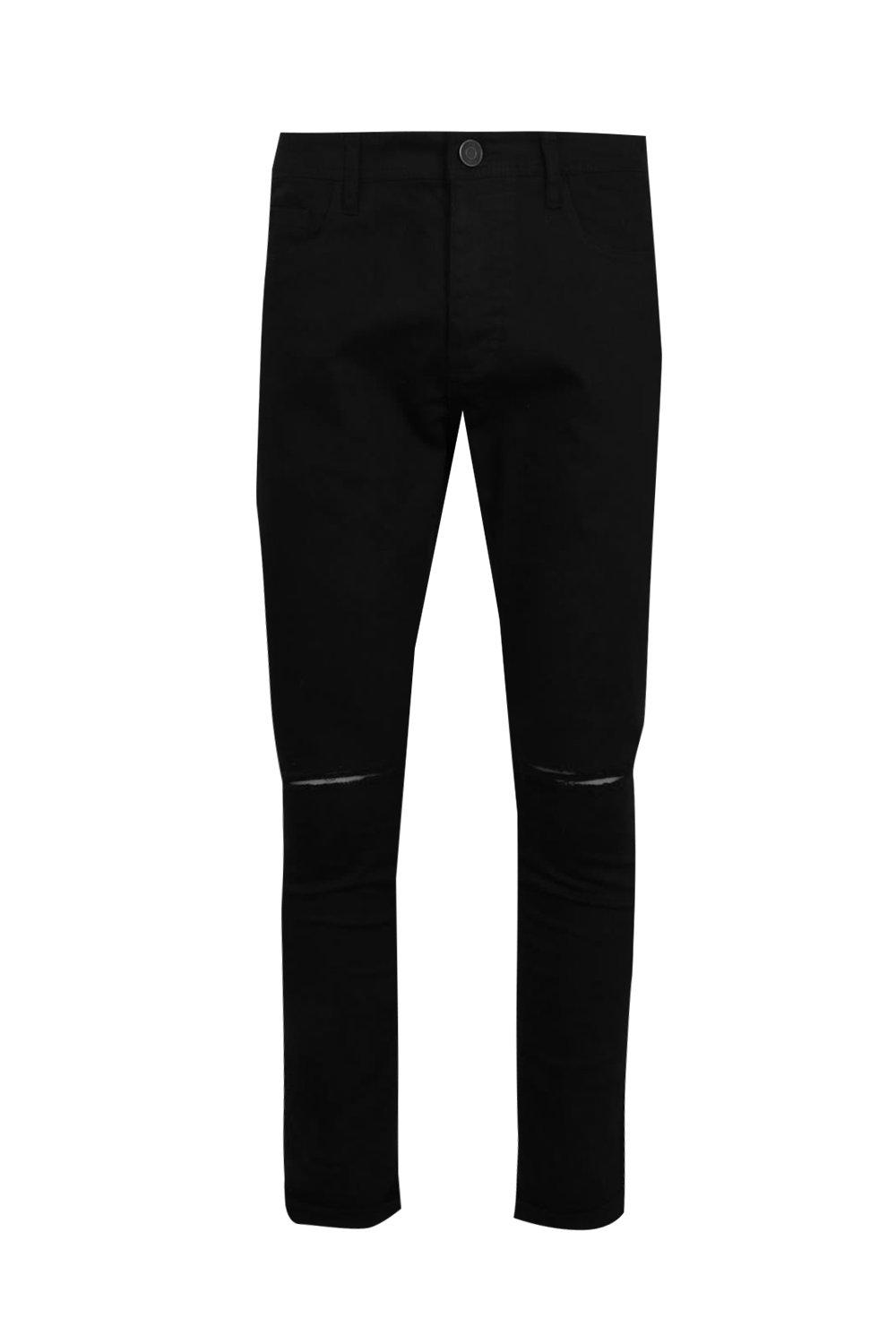 boohooMAN Black Stretch Skinny Jeans With Ripped Knees