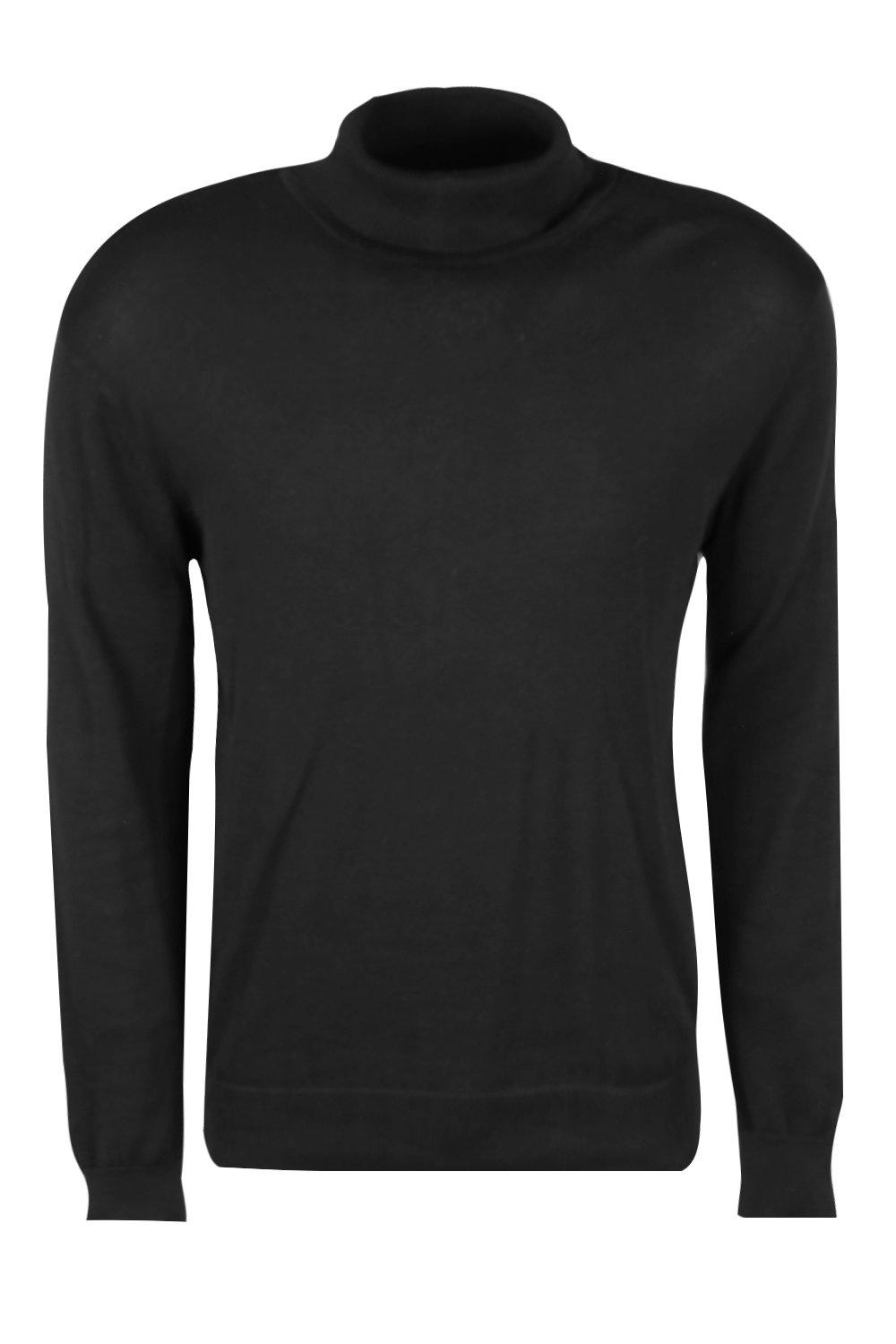 boohooMAN black Long Sleeve Knitted Roll Neck Jumper