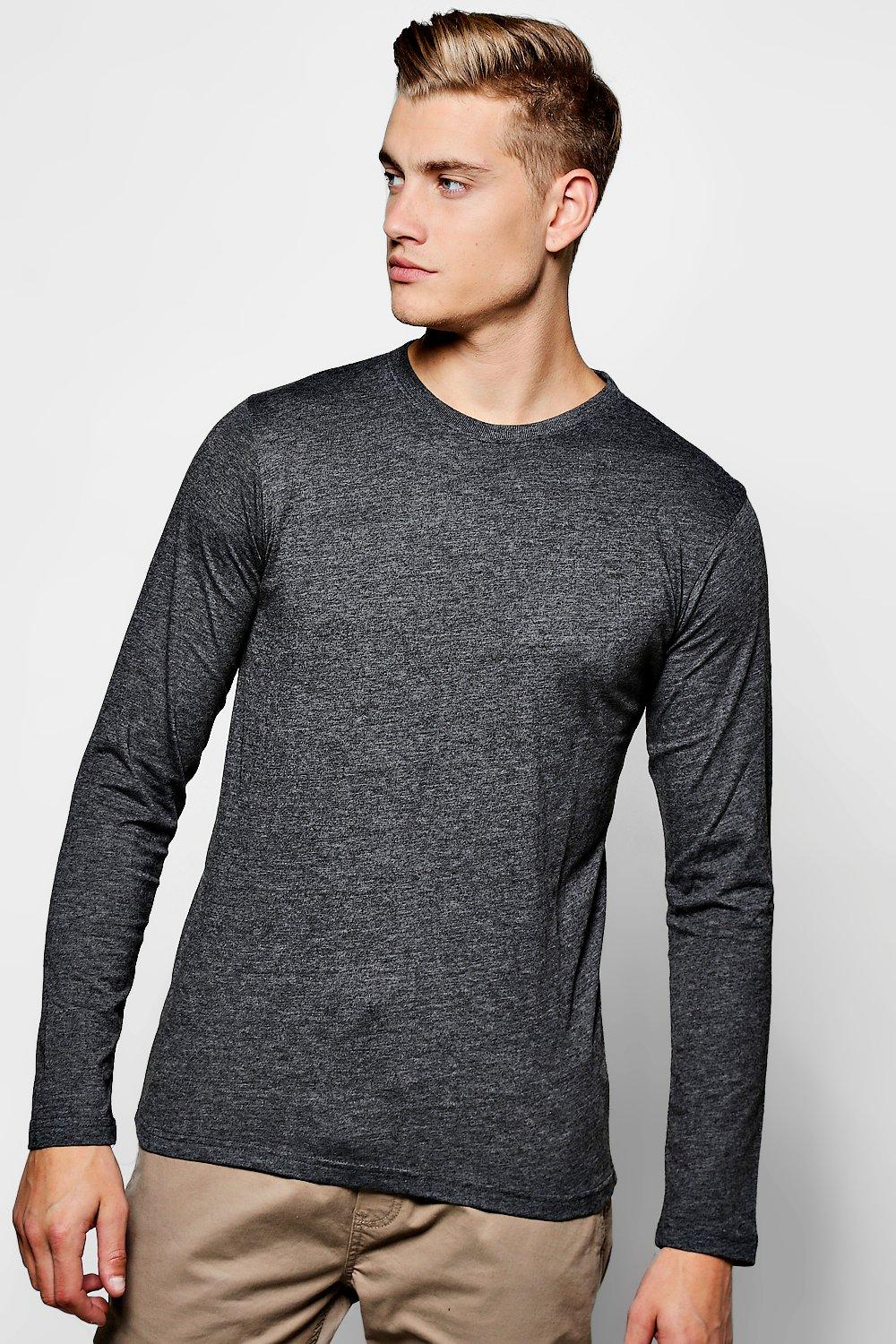 boohooMAN charcoal Basic Long Sleeve Crew Neck T Shirt