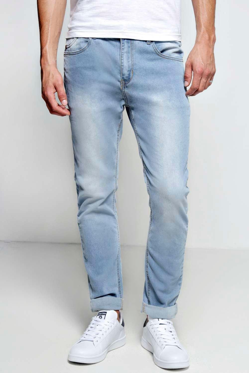 boohooMAN blue Stone Washed Stretch Skinny Fit Jeans