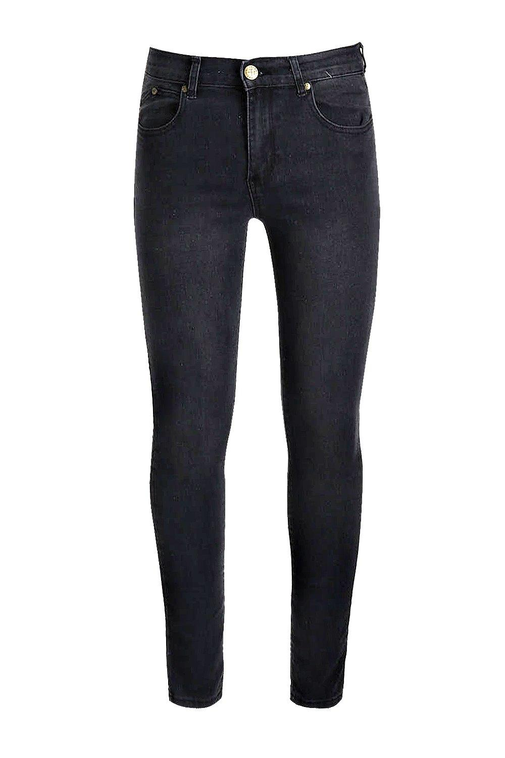 boohooMAN Super Skinny Stretch Denim Charcoal Jeans