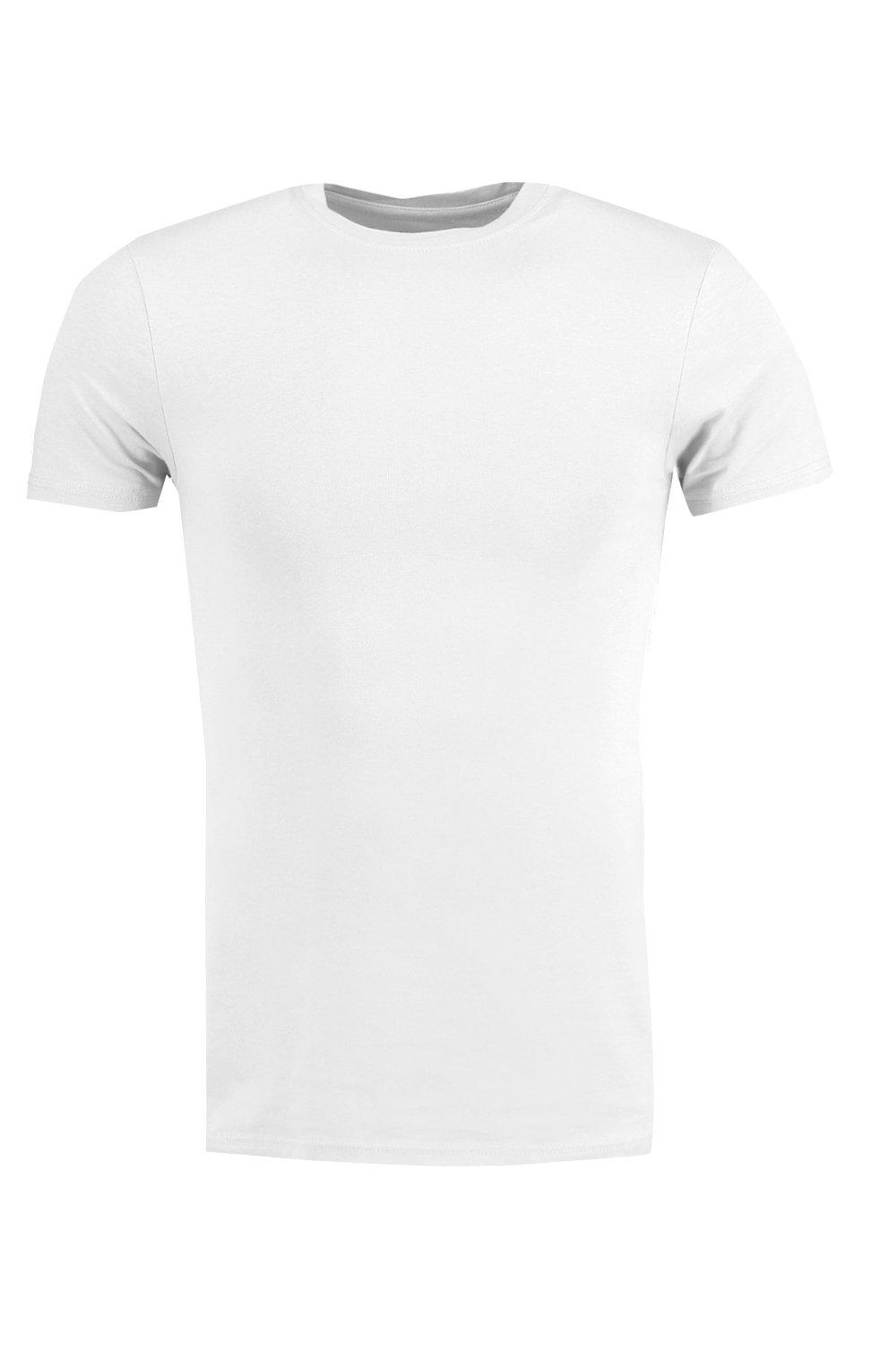 boohooMAN white Muscle Fit Crew Neck T Shirt