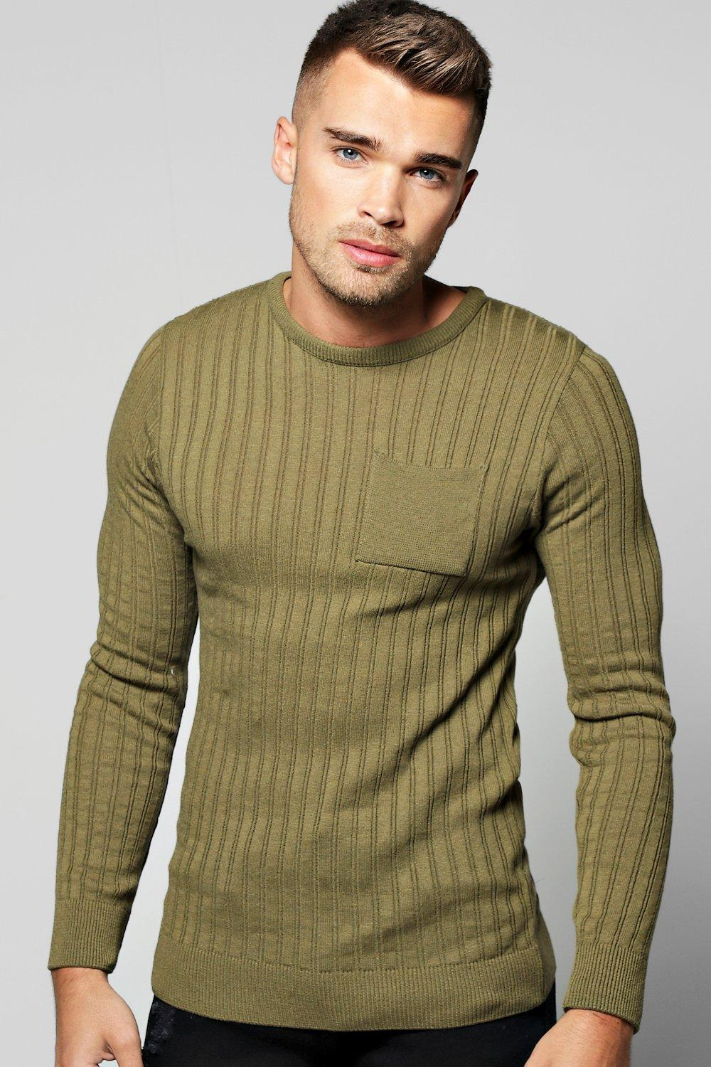 boohooMAN khaki Knitted Crew Neck Jumper With Patch Pocket