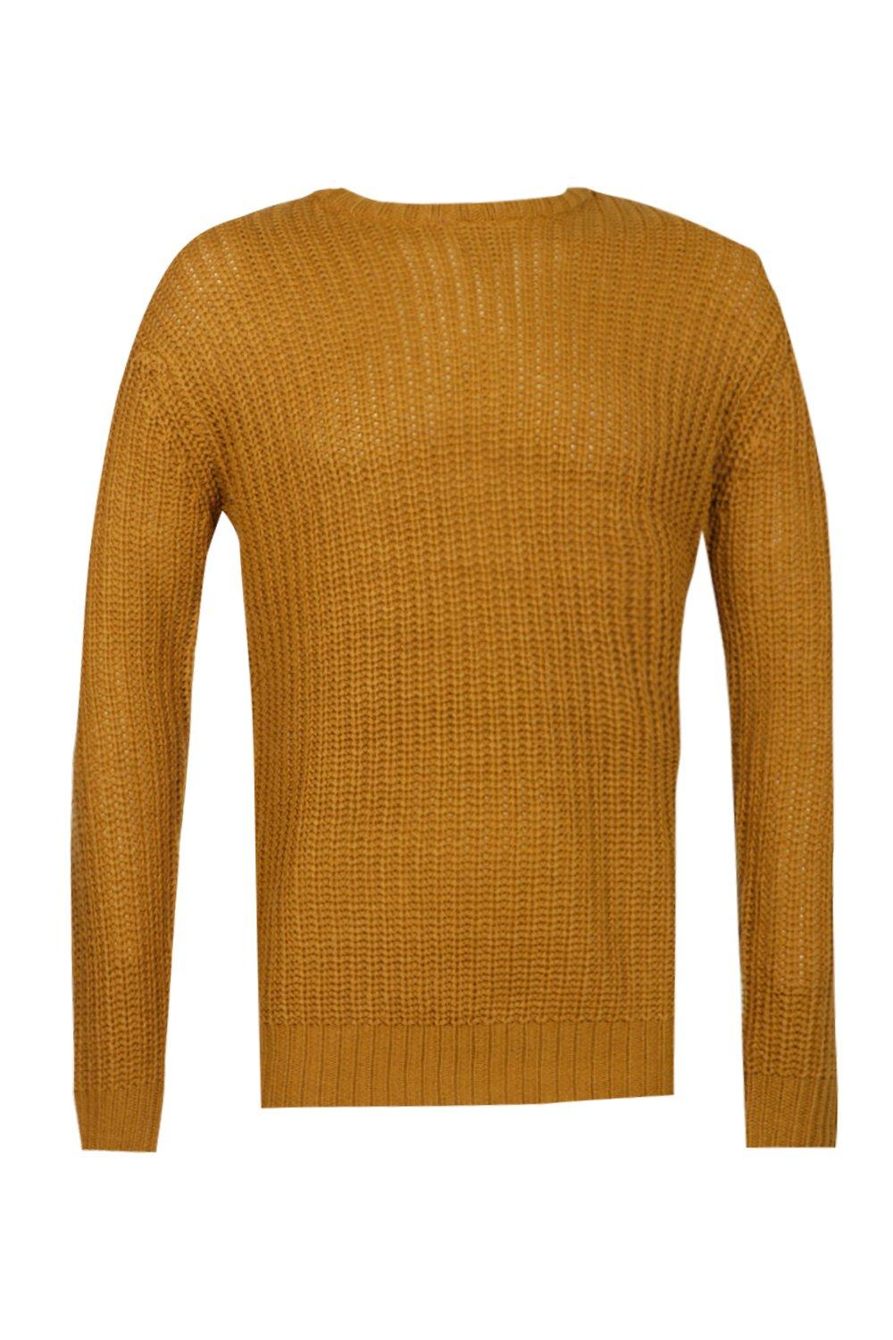boohooMAN mustard Crew Neck Fisherman Knit Jumper