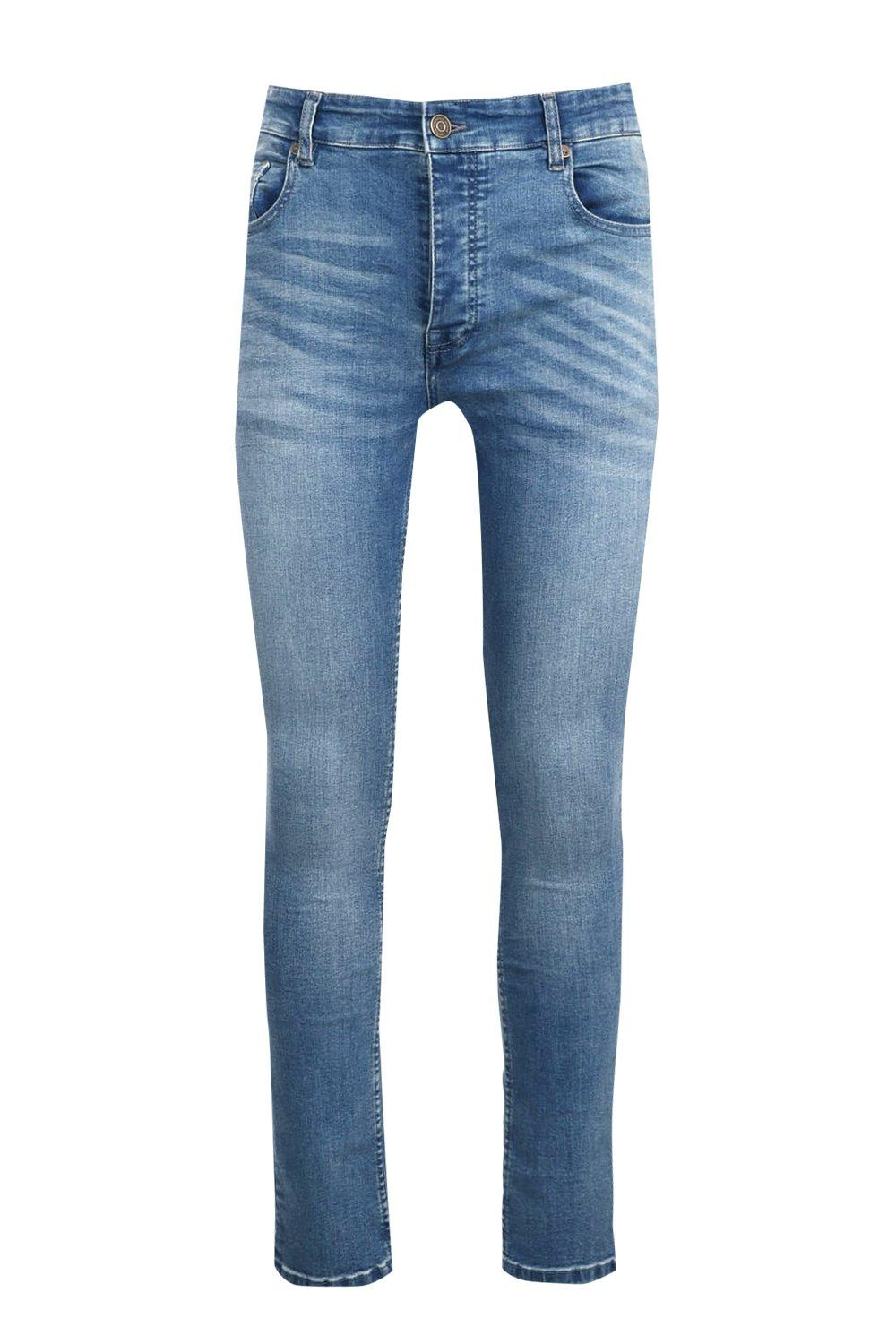 boohooMAN Stretch Skinny Fit Washed Jean in Mid Blue