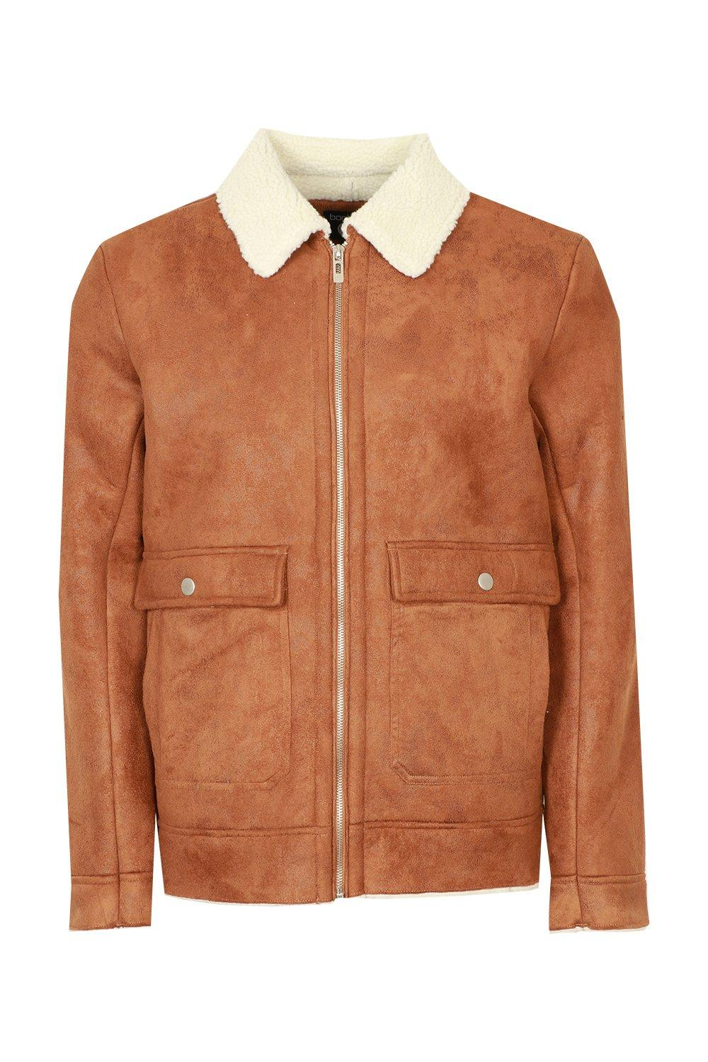 boohooMAN tan Faux Suede Jacket With Borg Collar