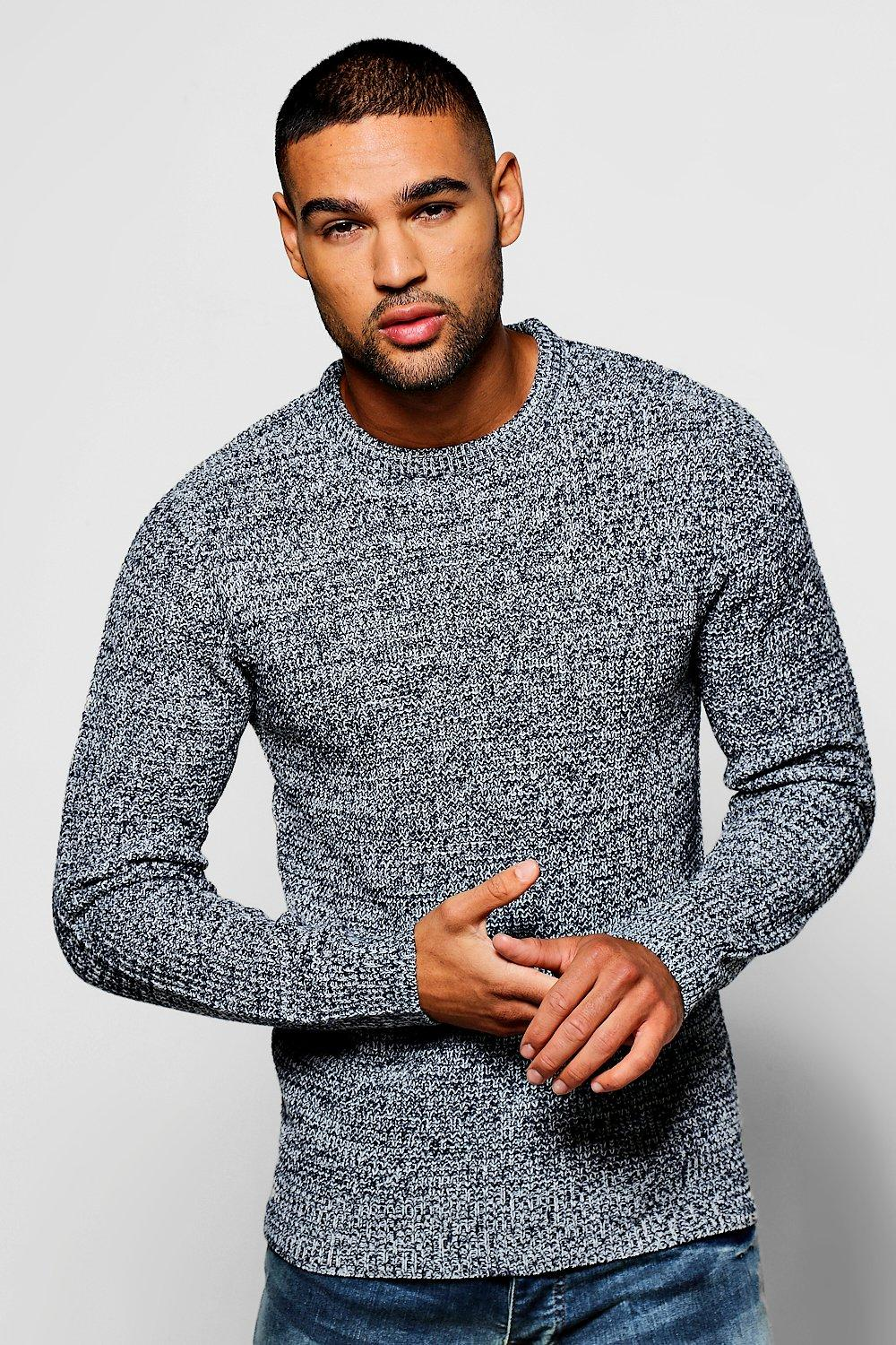 boohooMAN navy Crew Neck Ribbed Jumper with Twisted Knit