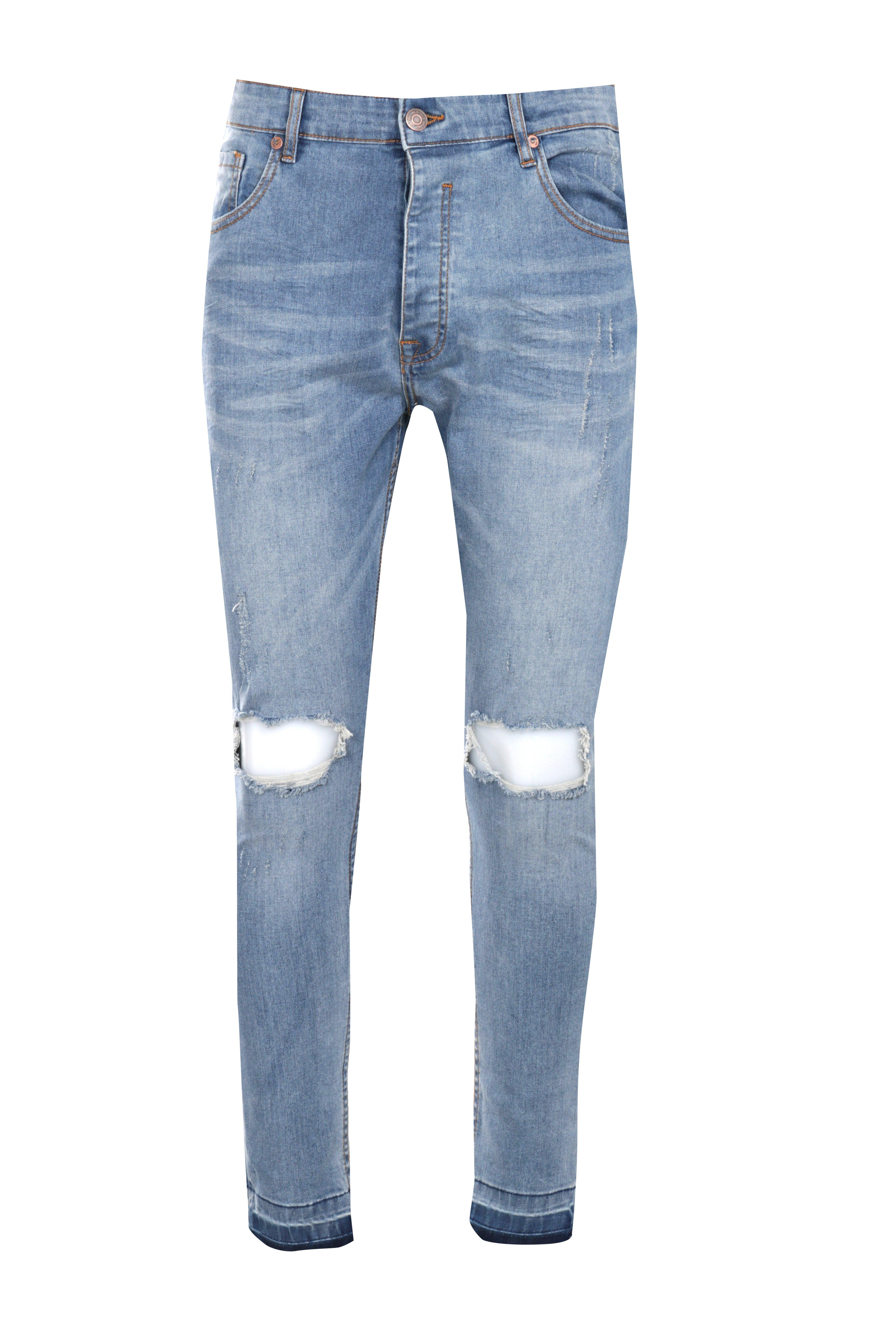 boohooMAN Pale Blue Skinny Fit Ripped Knee Jeans