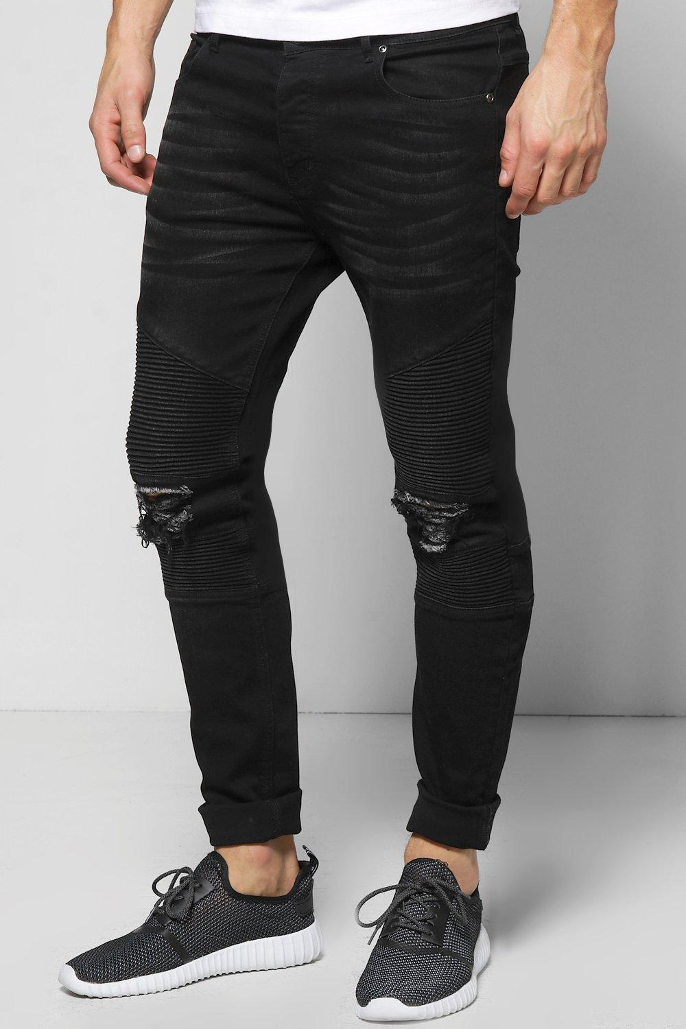 boohooMAN Washed Black Biker Detail Skinny Fit Jeans