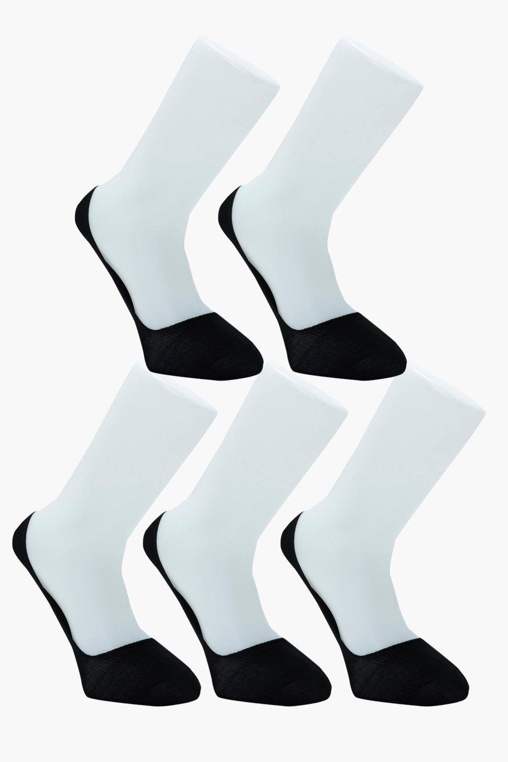 boohooMAN 5 Pack Invisible Black Socks With Grips