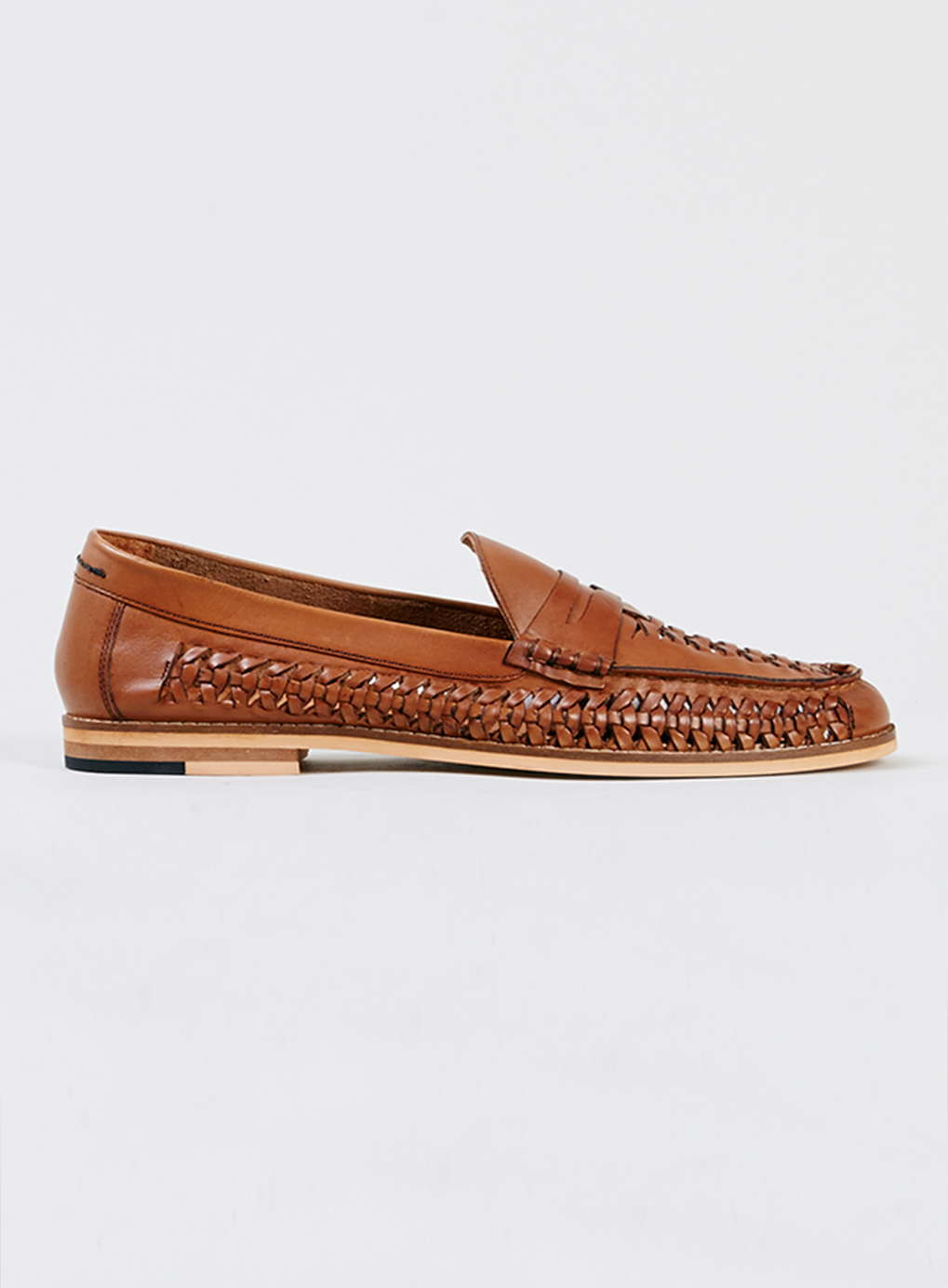Topman Brown Marne tan leather woven loafers