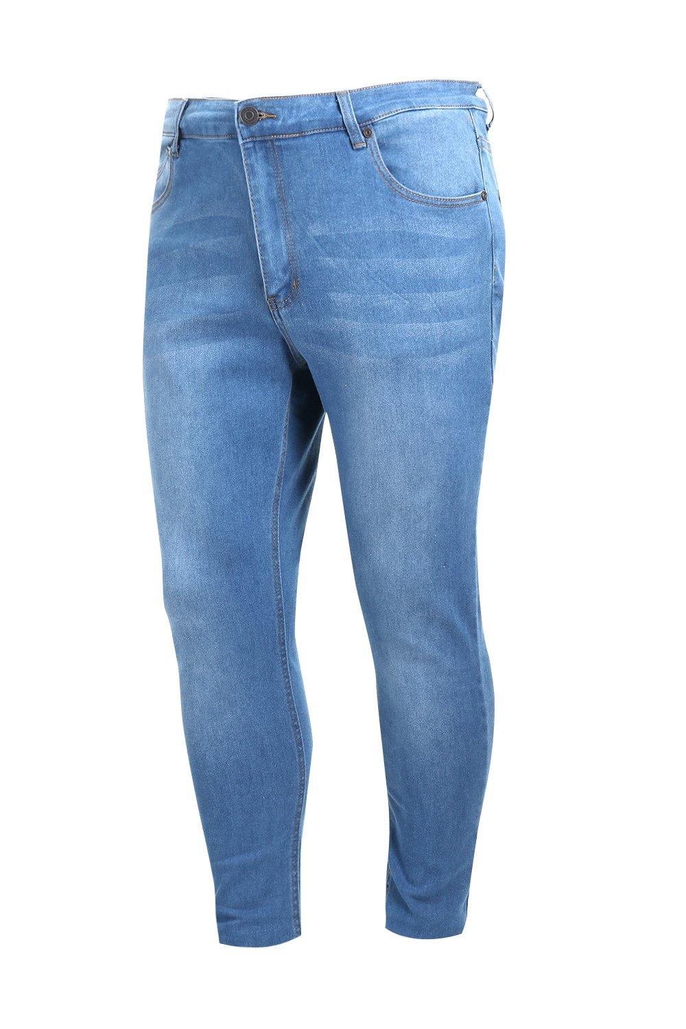boohooMAN Big And Tall Blue Slim Fit Washed Jeans