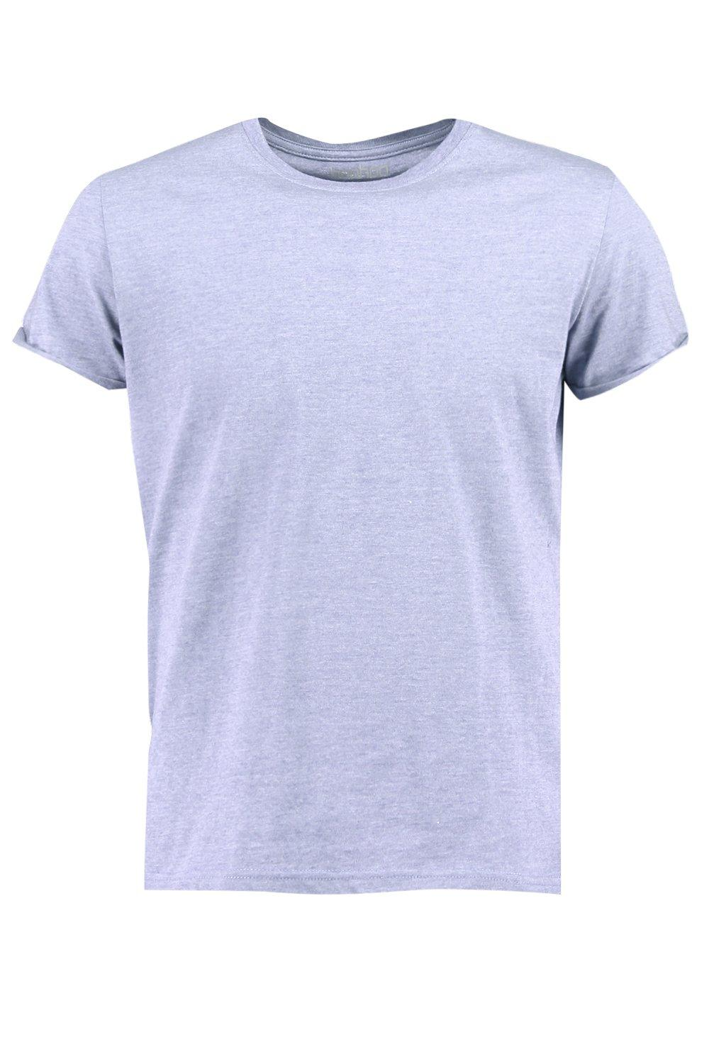 boohooMAN denim Crew Neck T-Shirt with Rolled Sleeves