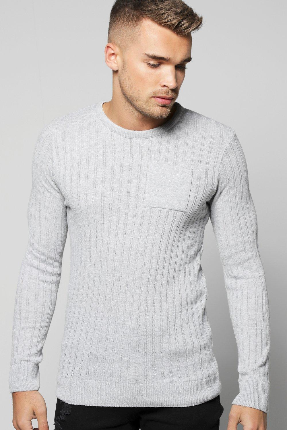 boohooMAN grey Knitted Crew Neck Jumper With Patch Pocket