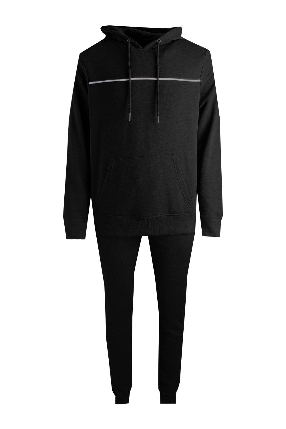boohooMAN black Over The Head Hooded Tracksuit With Piping