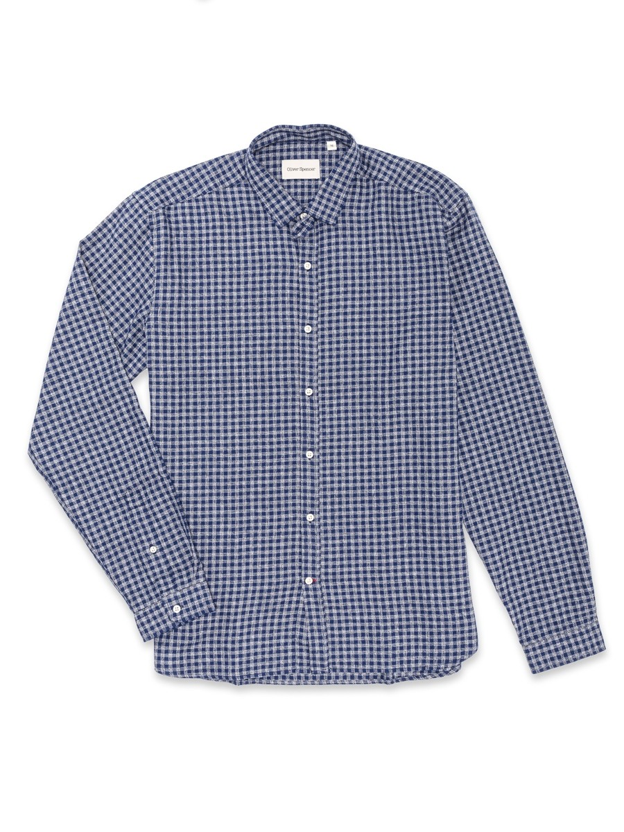 Oliver Spencer Clerkenwell Tab Shirt Cannington Blue