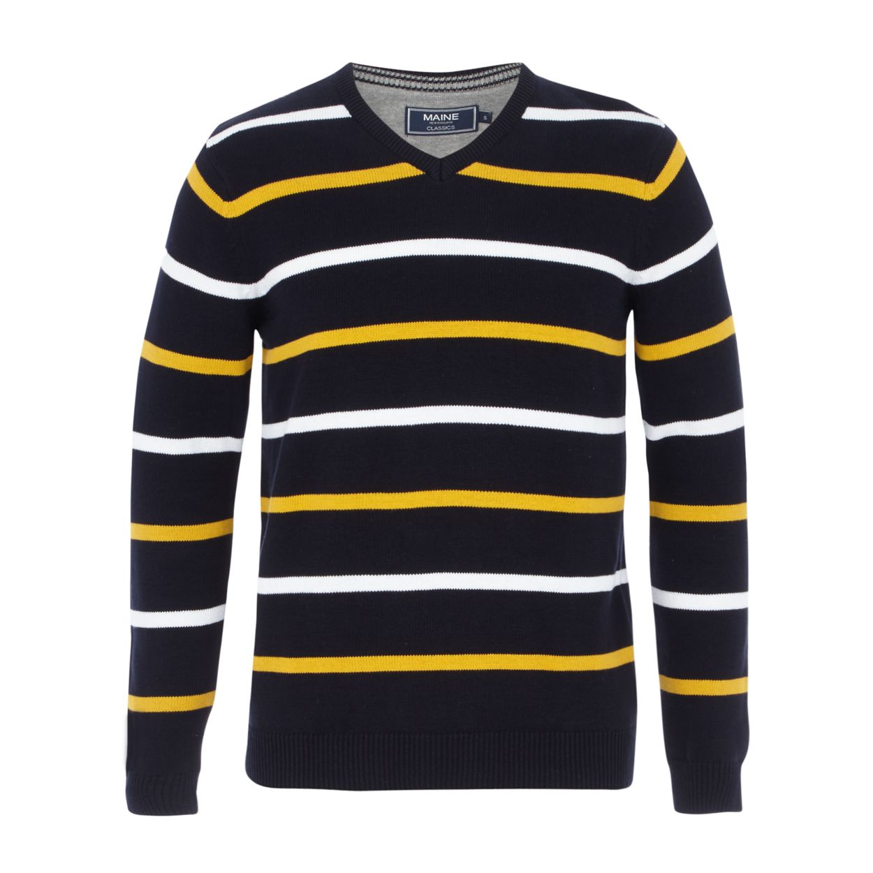 Maine New England Navy and yellow striped V-neck jumper