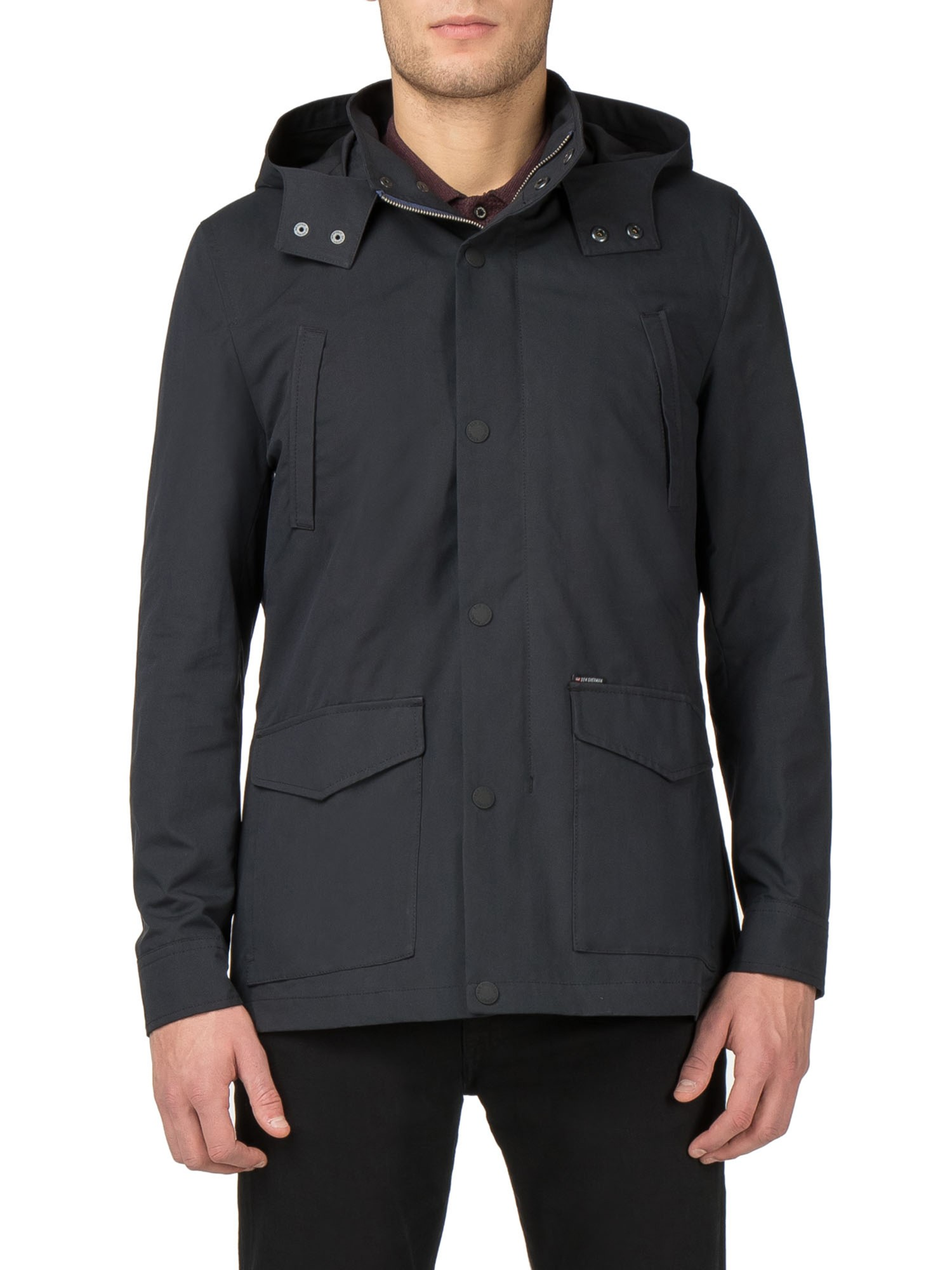 Ben Sherman Black Hooded Mac