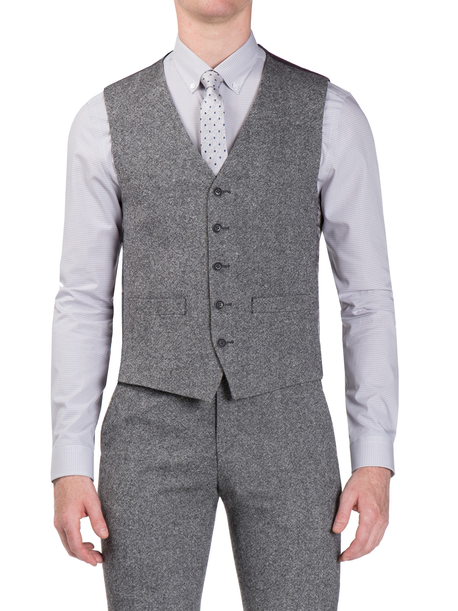 Ben Sherman Smoked Grey Donegal Camden Fit Waistcoat Slim Fit (Camden Fit)