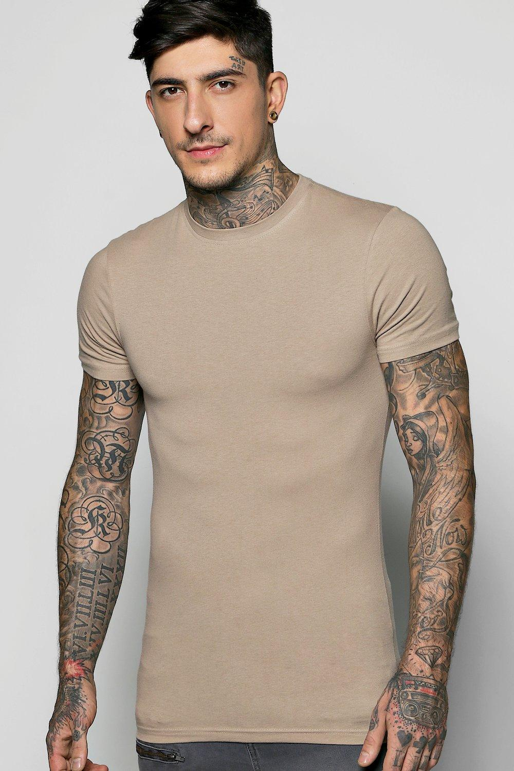 boohooMAN taupe Muscle Fit Crew Neck T Shirt