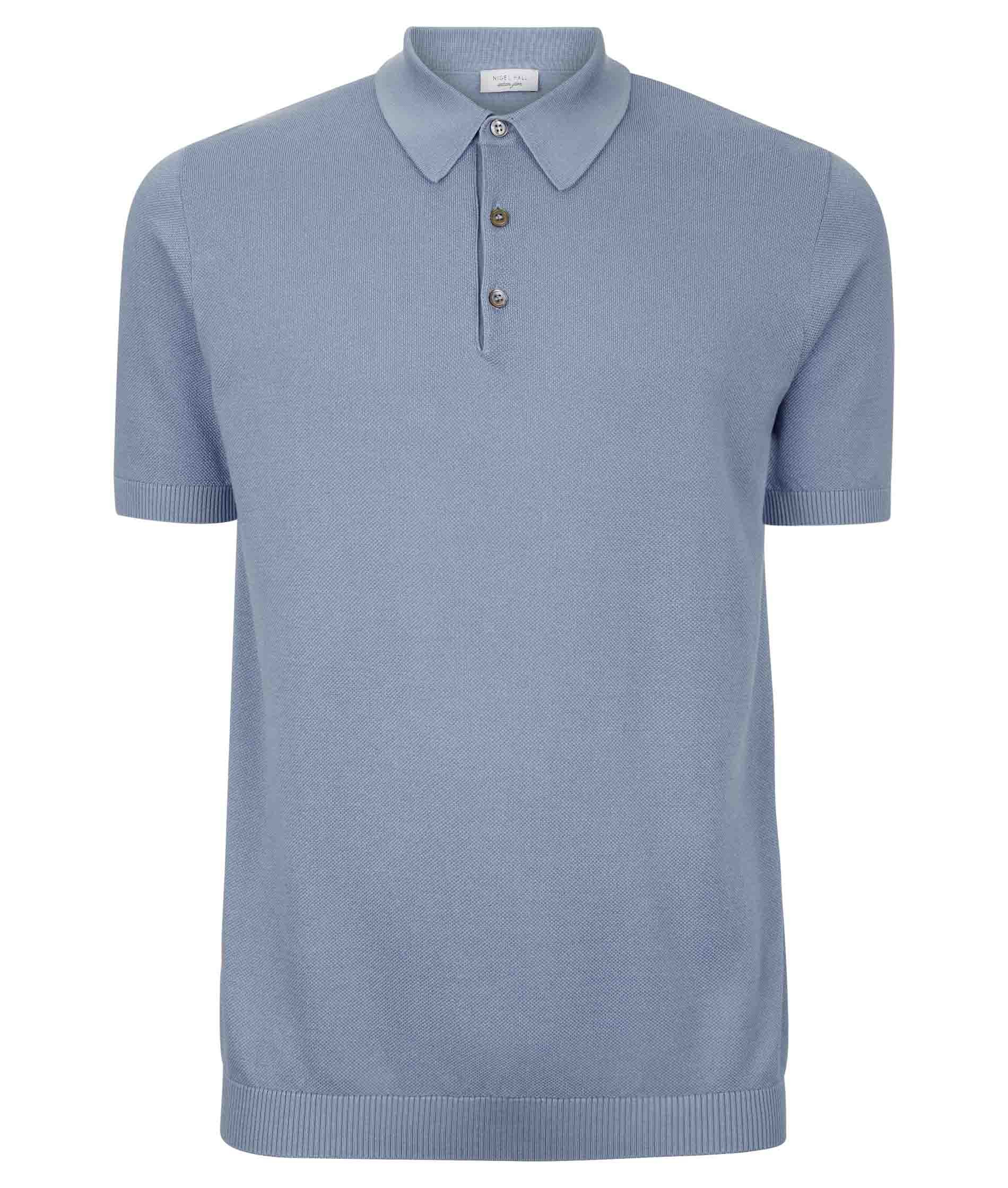 Nigel Hall Pale Blue Short Sleeved Textured Cotton Polo Shirt (Can)