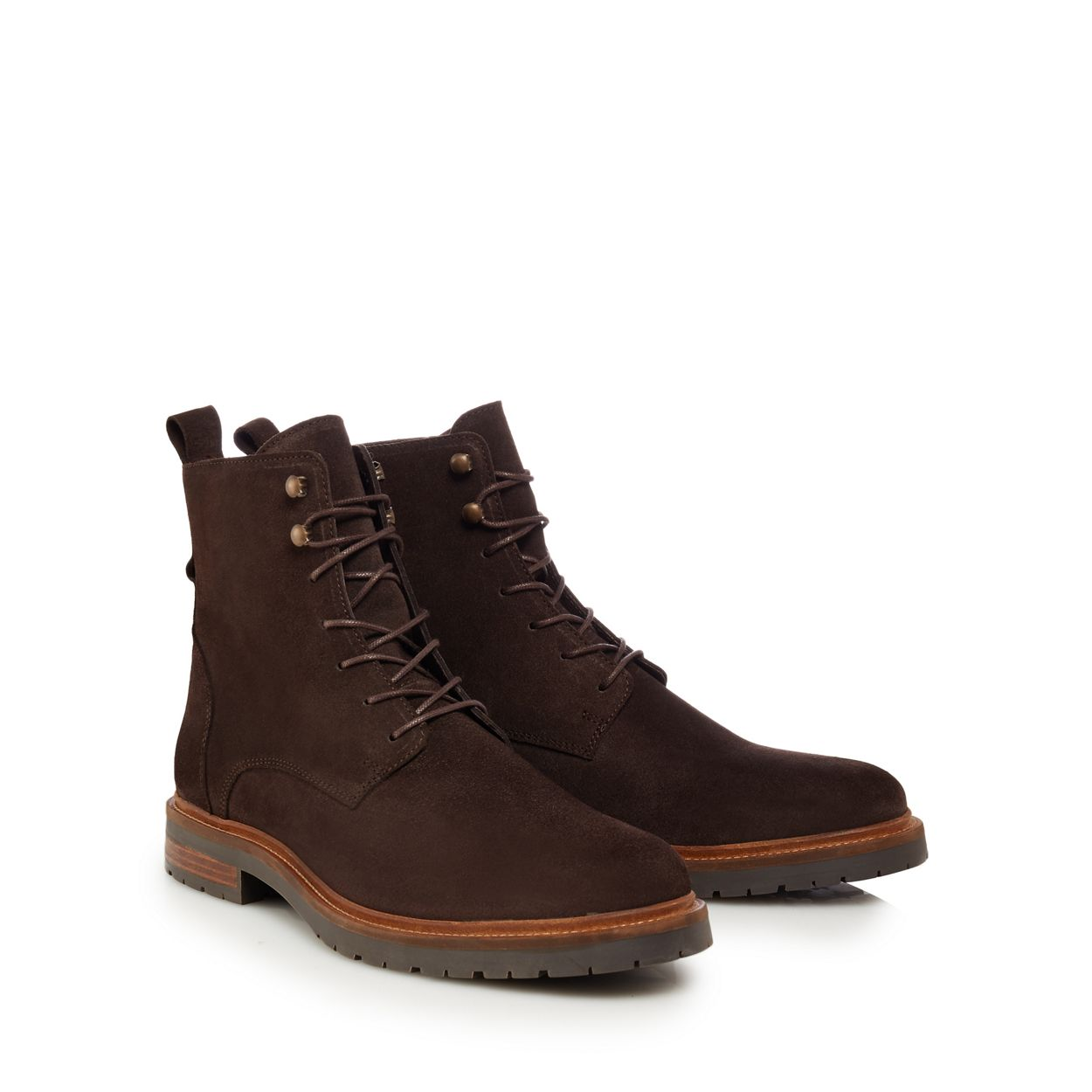 Hammond & Co. by Patrick Grant Chocolate Brown suede 'Hayling' lace-up boots