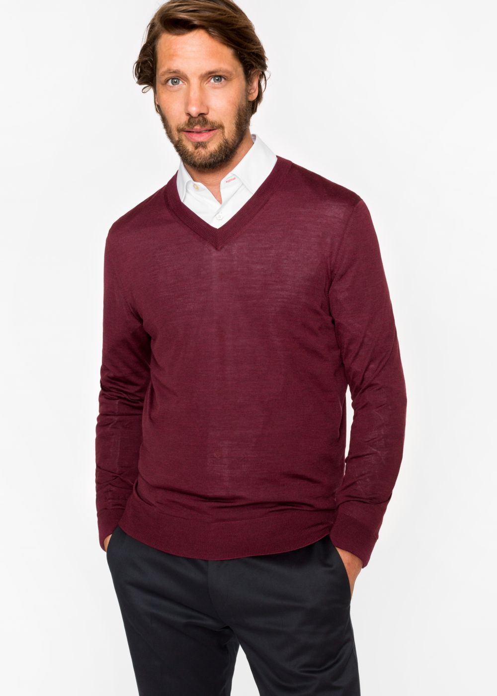 Paul Smith Men's Damson Merino Wool V-Neck Sweater
