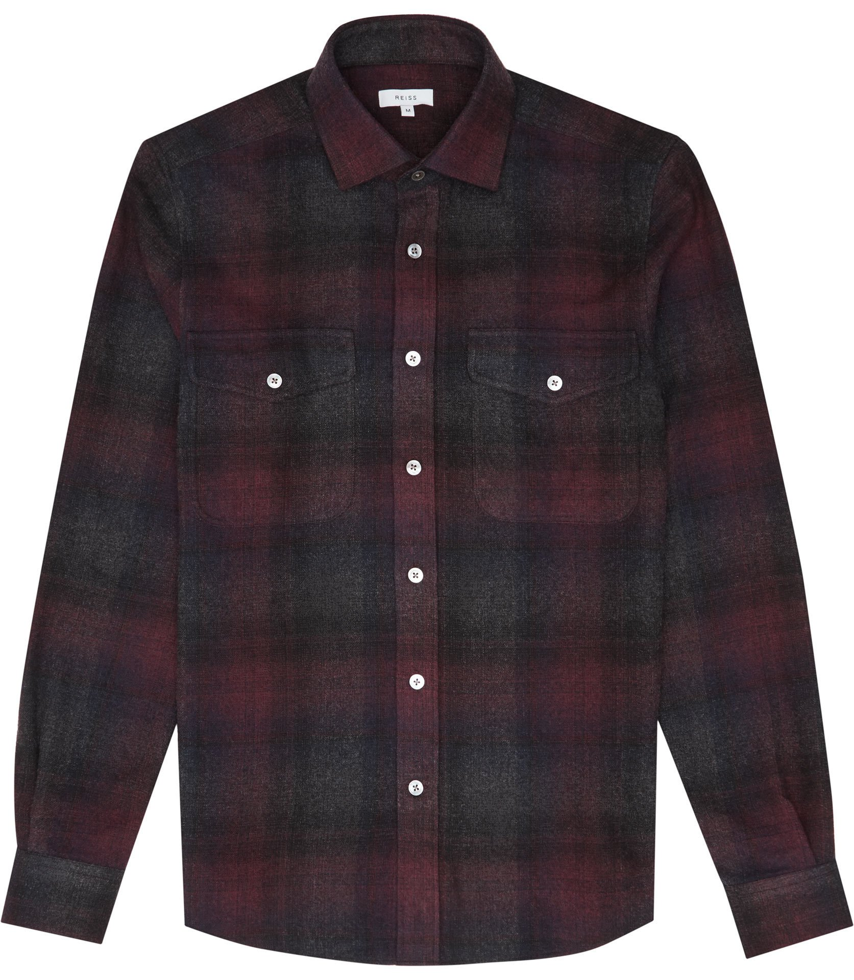 Reiss Bordeaux Union Checked Overshirt