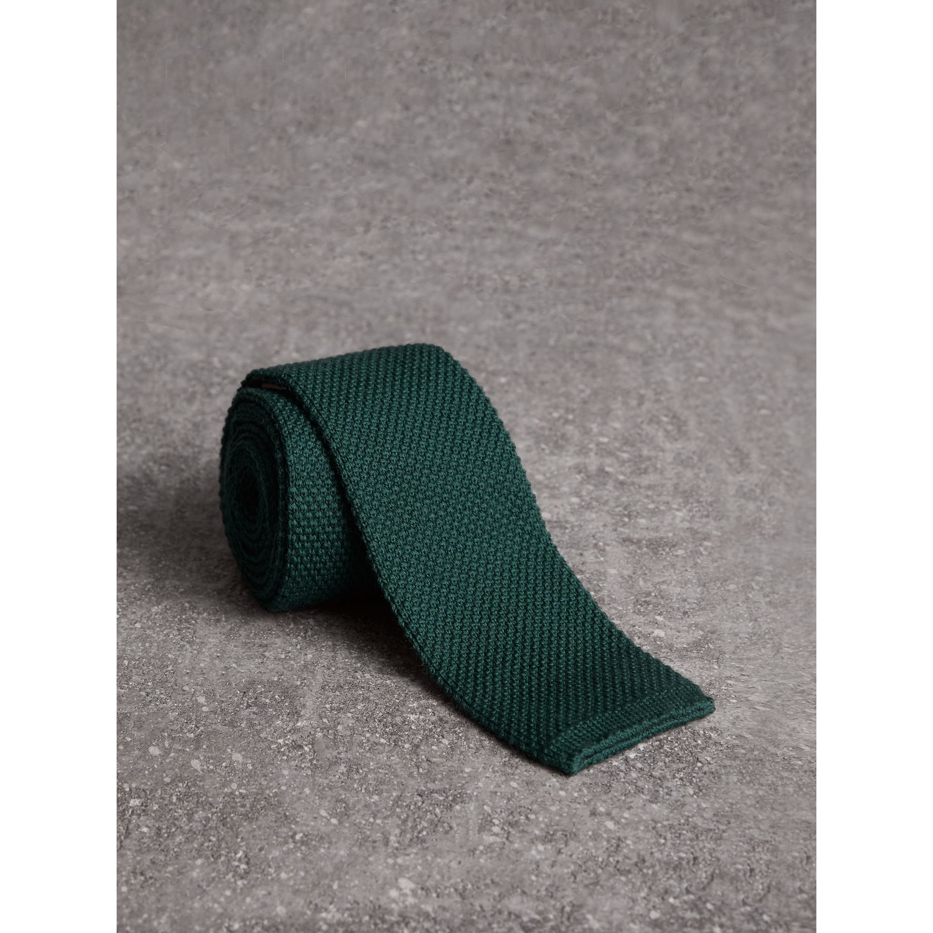 Burberry Dark Forest Green Slim Cut Waffle Knit Wool Tie