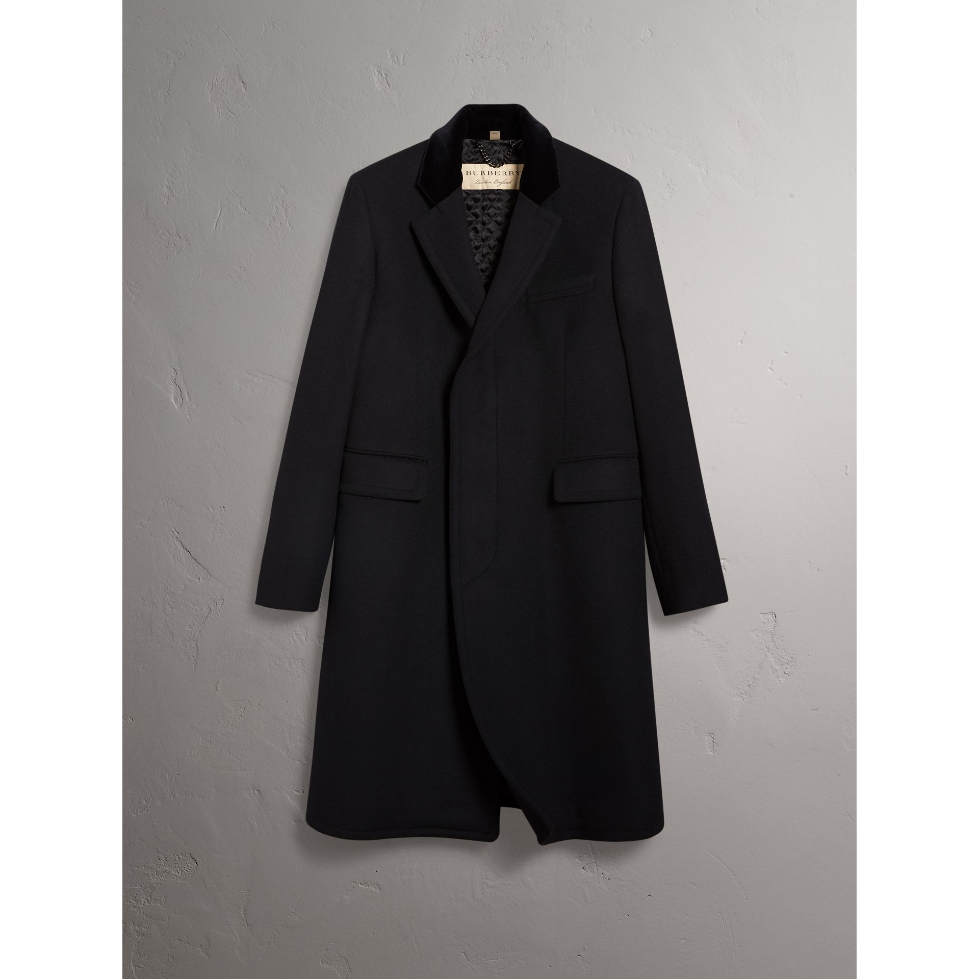 Burberry Black Velvet Collar Wool Cashmere Blend Riding Coat